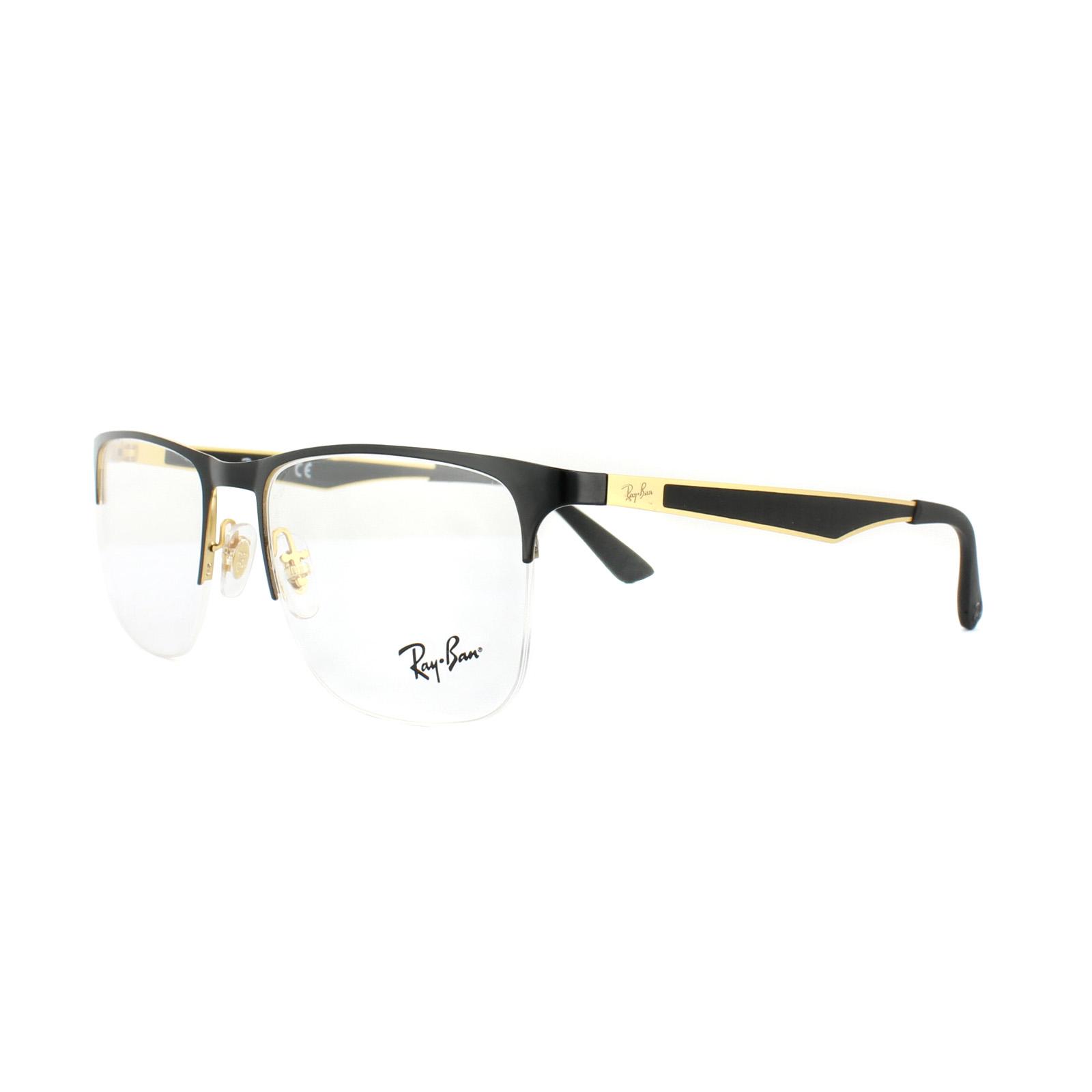Ray-Ban Glasses Frames RX 6362 2890 Gold Top Shiny Black Mens 55mm ...