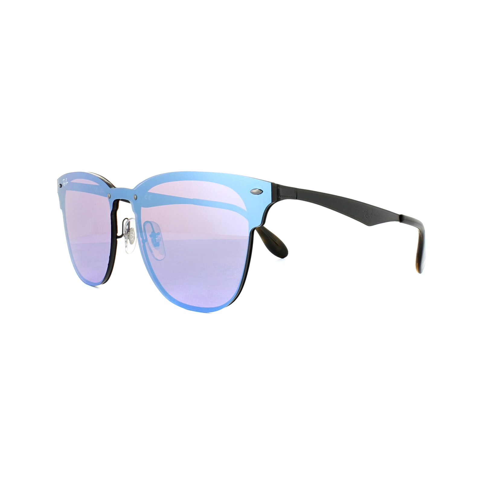 837cce80dd1d6 Sentinel Ray-Ban Sunglasses Blaze Clubmaster 3576N 153 7V Black Dark Violet  Blue Mirror