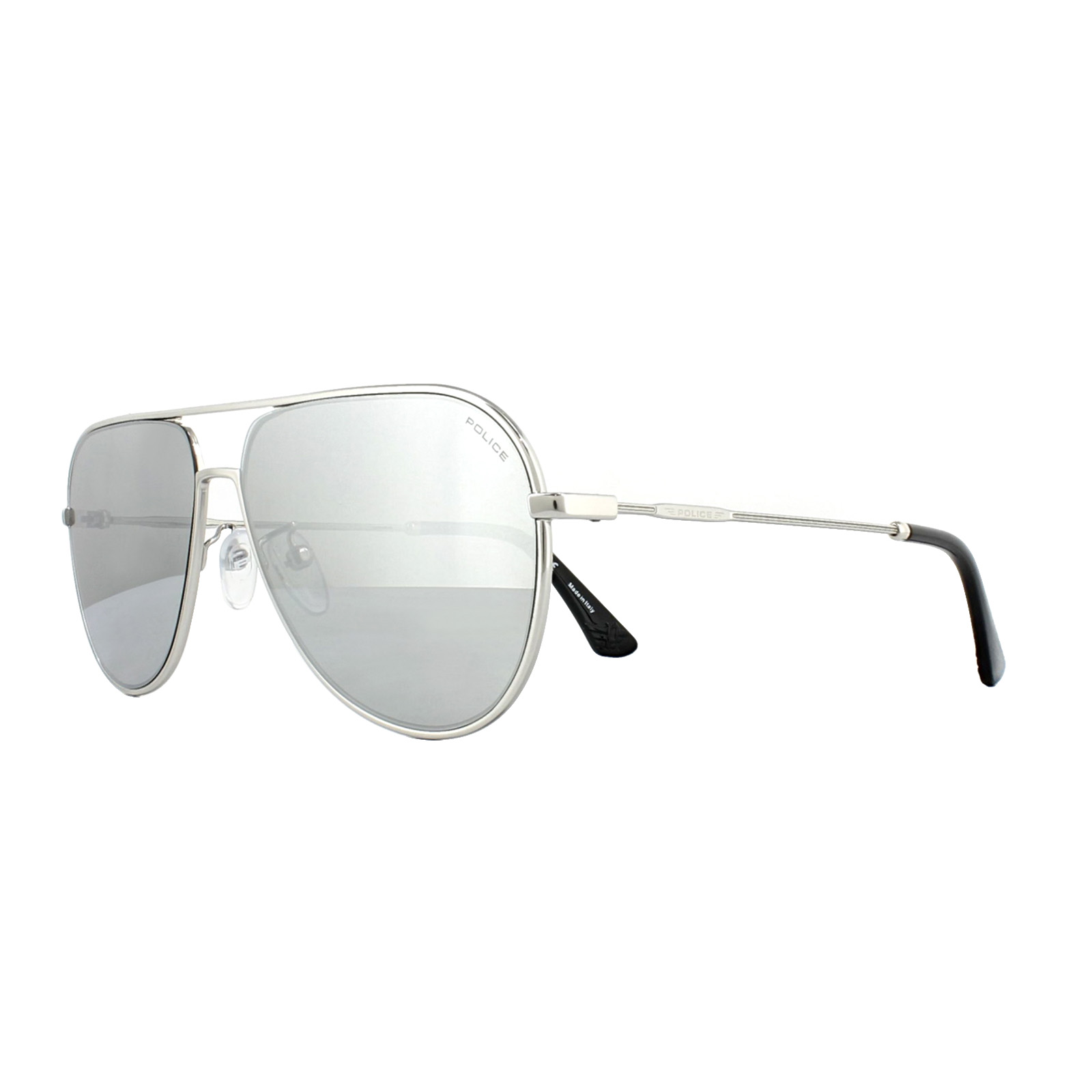 0928daac60a5f Sentinel Police Sunglasses SPL359 Highway 2 589X Shiny Palladium Grey  Silver Mirror