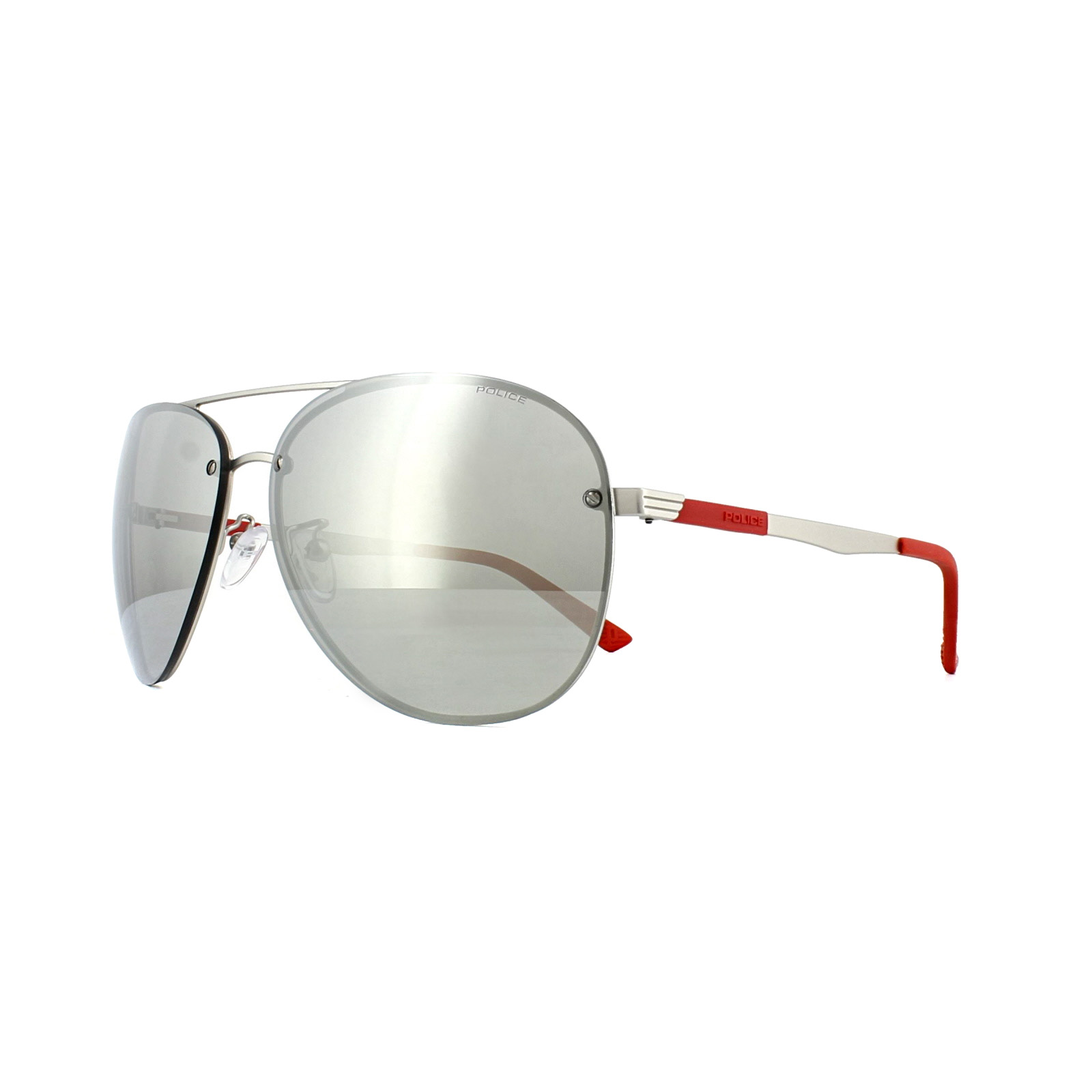 0610d7dcbfa3f Sentinel Police Sunglasses SPL379 Court 3 581X Matt Palladium Red Silver  Mirror
