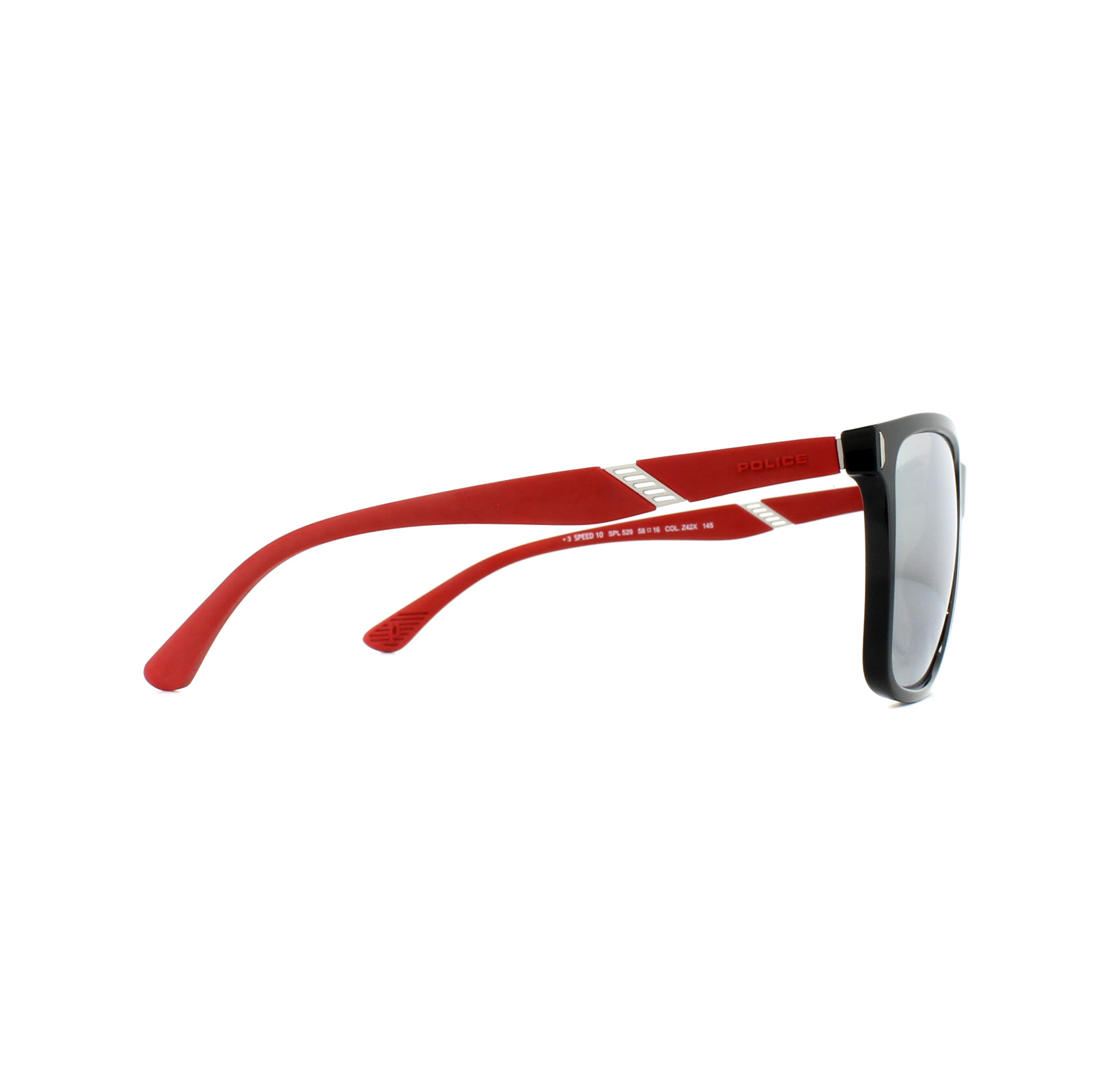 619a340008 Sentinel Police Sunglasses SPL529 Speed 10 Z42X Shiny Black Red Silver  Mirror