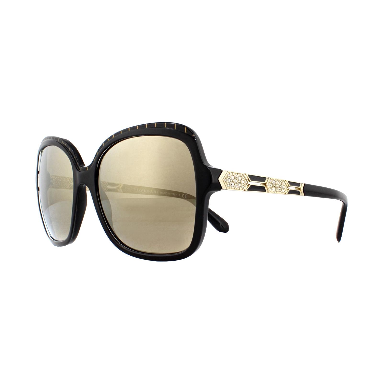 088fd8bb2d4 Sentinel Bvlgari Sunglasses BV8181B 54205A Black Pattern Gold Brown Mirror  Gold