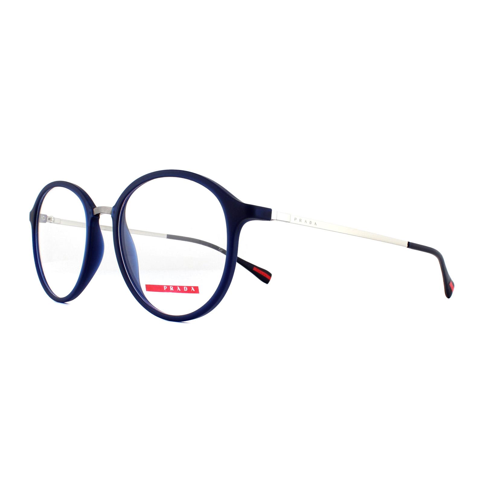 c421d5a502 Sentinel Prada Sport Glasses Frames PS 01IV U631O1 Blue Rubber 53mm Mens