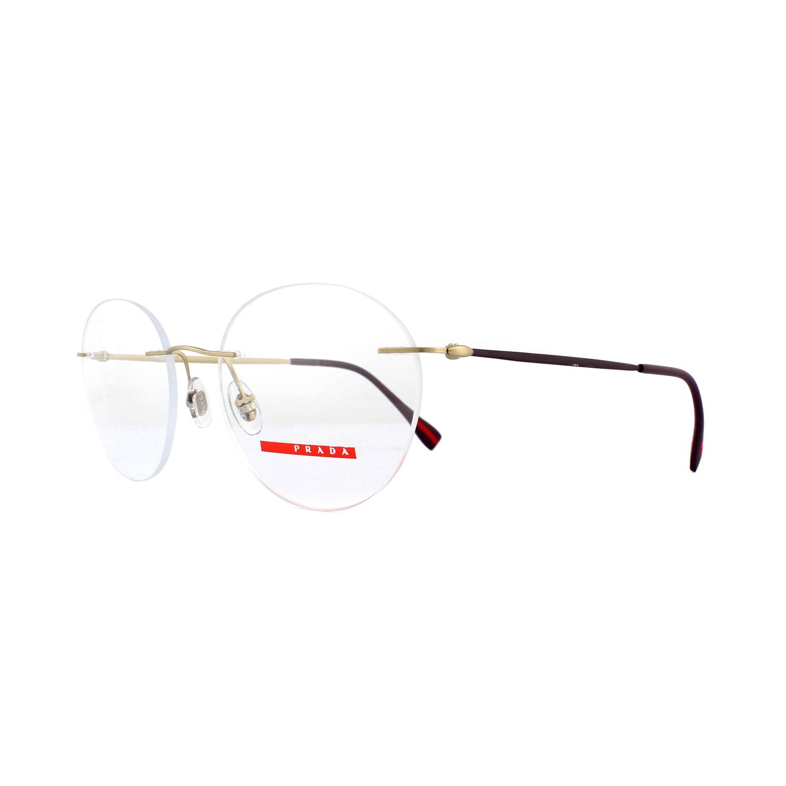 590f50358e Sentinel Prada Sport Glasses Frames PS 52IV EAG1O1 Matt Pale Gold 52mm Mens