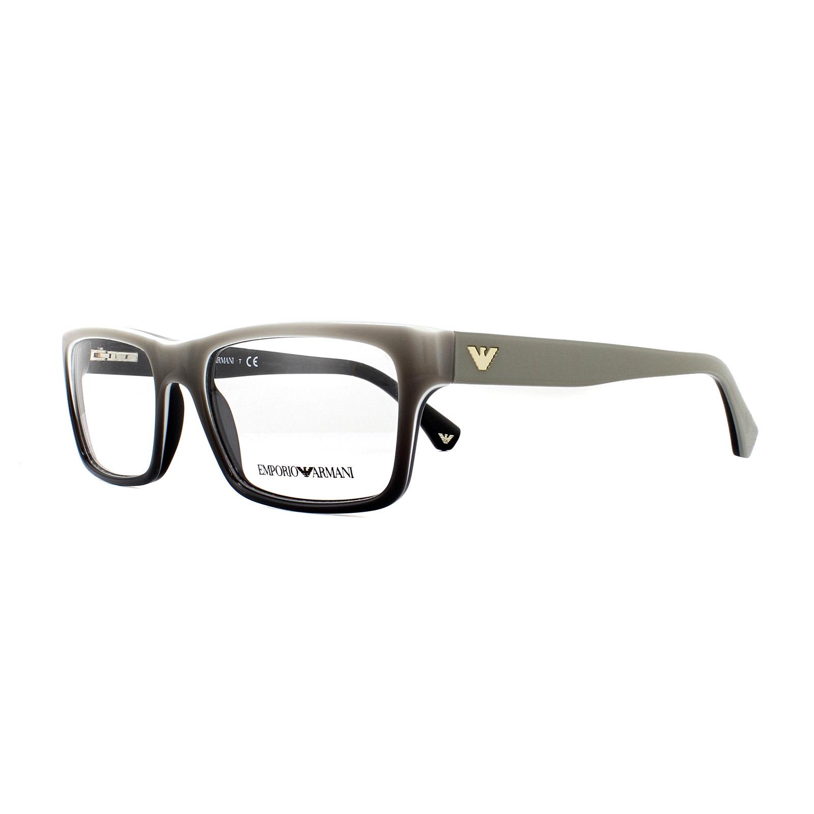 be2adc4dc726 Sentinel Emporio Armani Glasses Frames EA 3050 5346 White Gradient on Black  53mm Mens