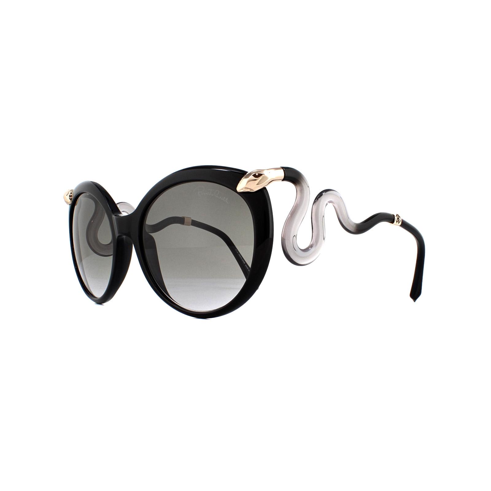 539bc4ff50 Sentinel Roberto Cavalli Sunglasses Castellina RC1037 01B Shiny Black Smoke  Gradient