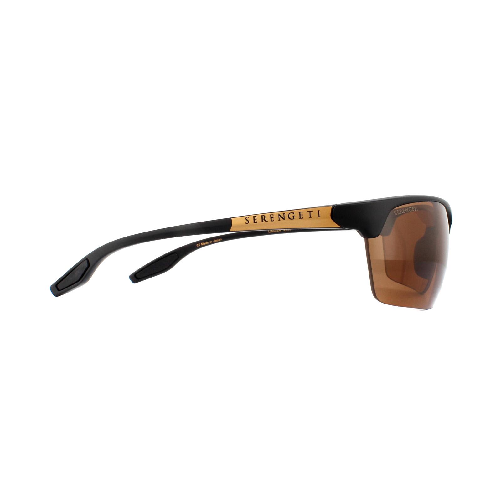 41145eb55e Sentinel Serengeti Sunglasses Linosa 8750 Satin Black Gold PhD Drivers  Brown Polarized