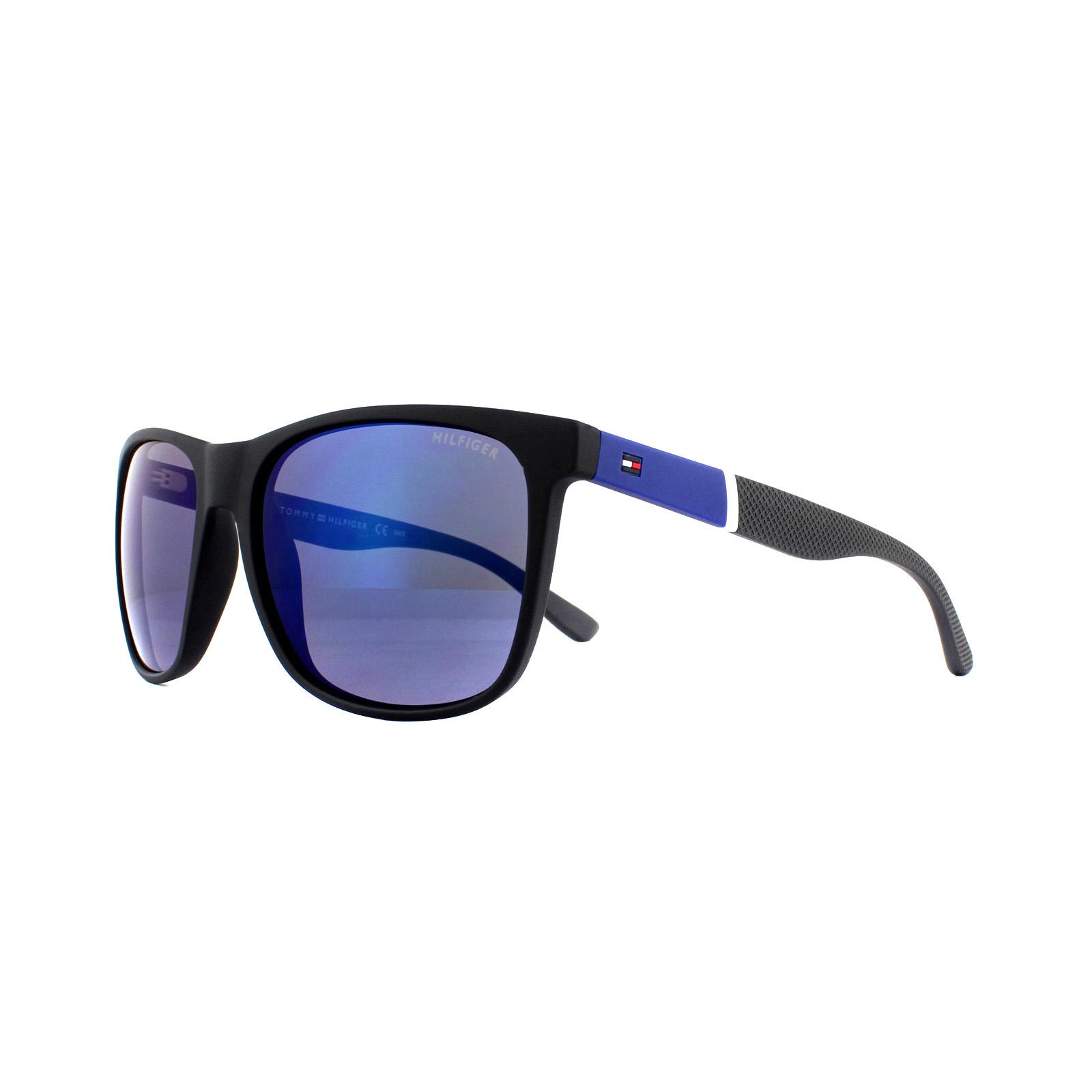 b3c251dcbe388 Sentinel Tommy Hilfiger Sunglasses TH 1281 S FMA 3H Black Blue Grey  Polarized