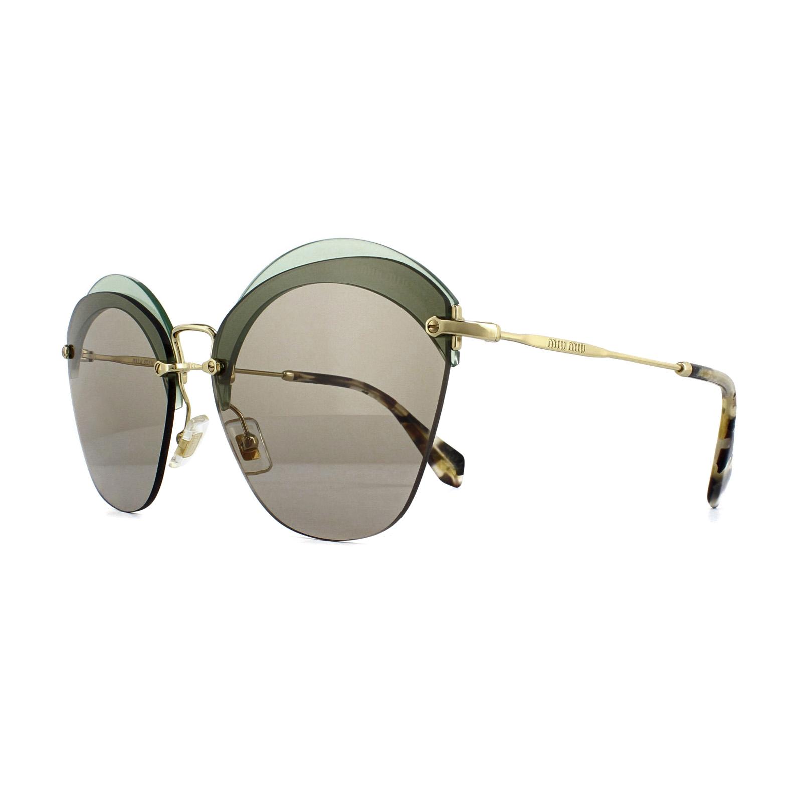 Bestseller einkaufen neue Kollektion guter Verkauf Details zu Miu Miu Sonnenbrille MU 53SS VX15J2 Grün & Gold HellBraun