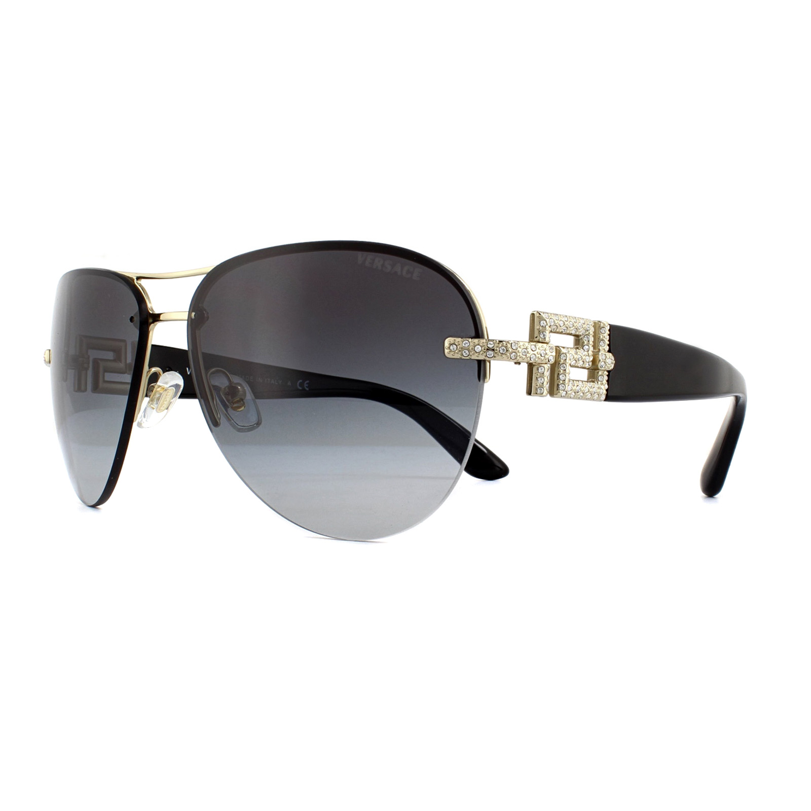 780d01fb02bf2 Sentinel Versace Sunglasses VE2159B 12528G Black   Gold Grey Gradient