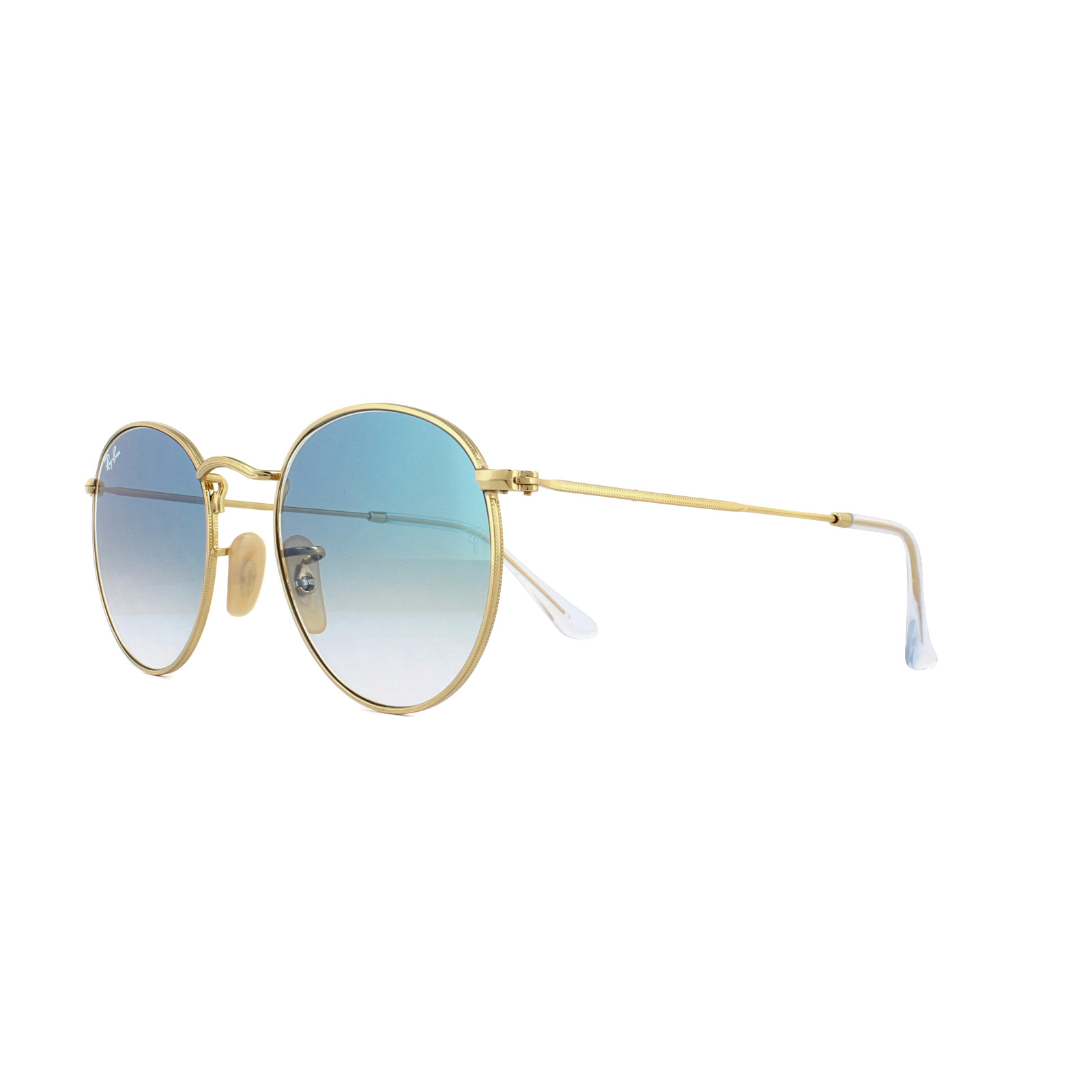 45c95759f32 Sentinel Ray-Ban Sunglasses Round Flat Lenses 3447N 001 3F Gold Blue  Gradient 50mm
