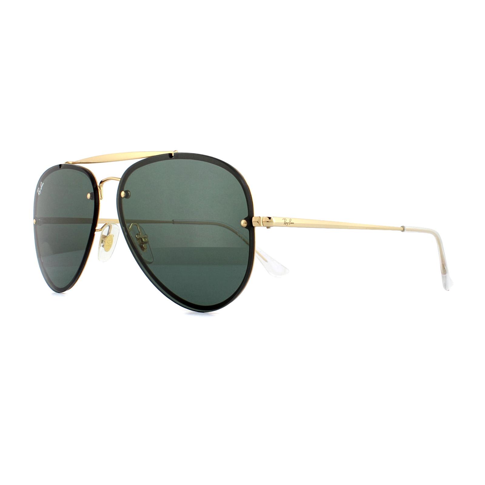 Sentinel Ray-Ban Sunglasses Blaze Aviator 3584N 905071 Gold Dark Green 58mm 3a91c76e25