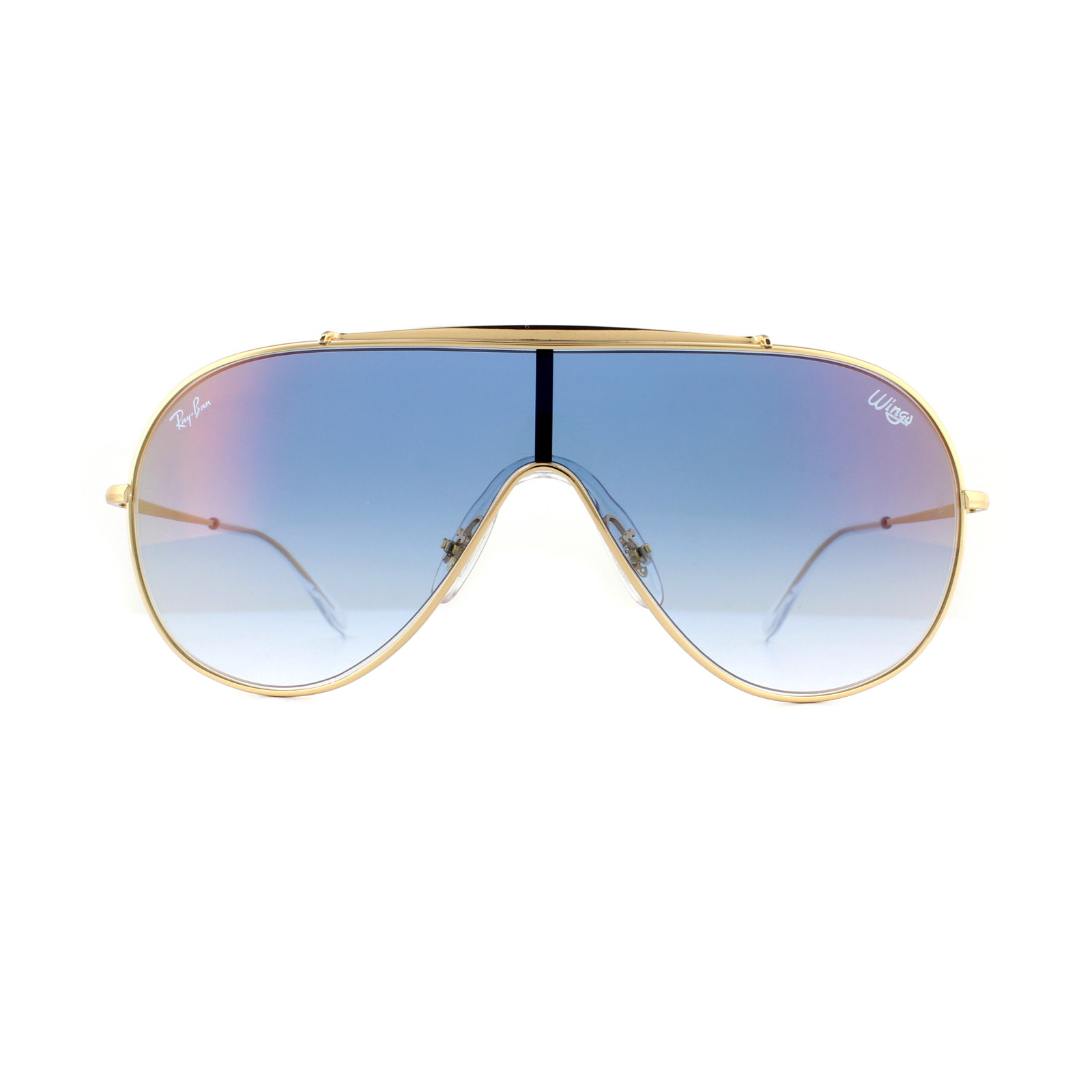 5bb2eebcfc Sentinel Ray-Ban Sunglasses Wings RB3597 001 X0 Gold Blue Gradient Mirror