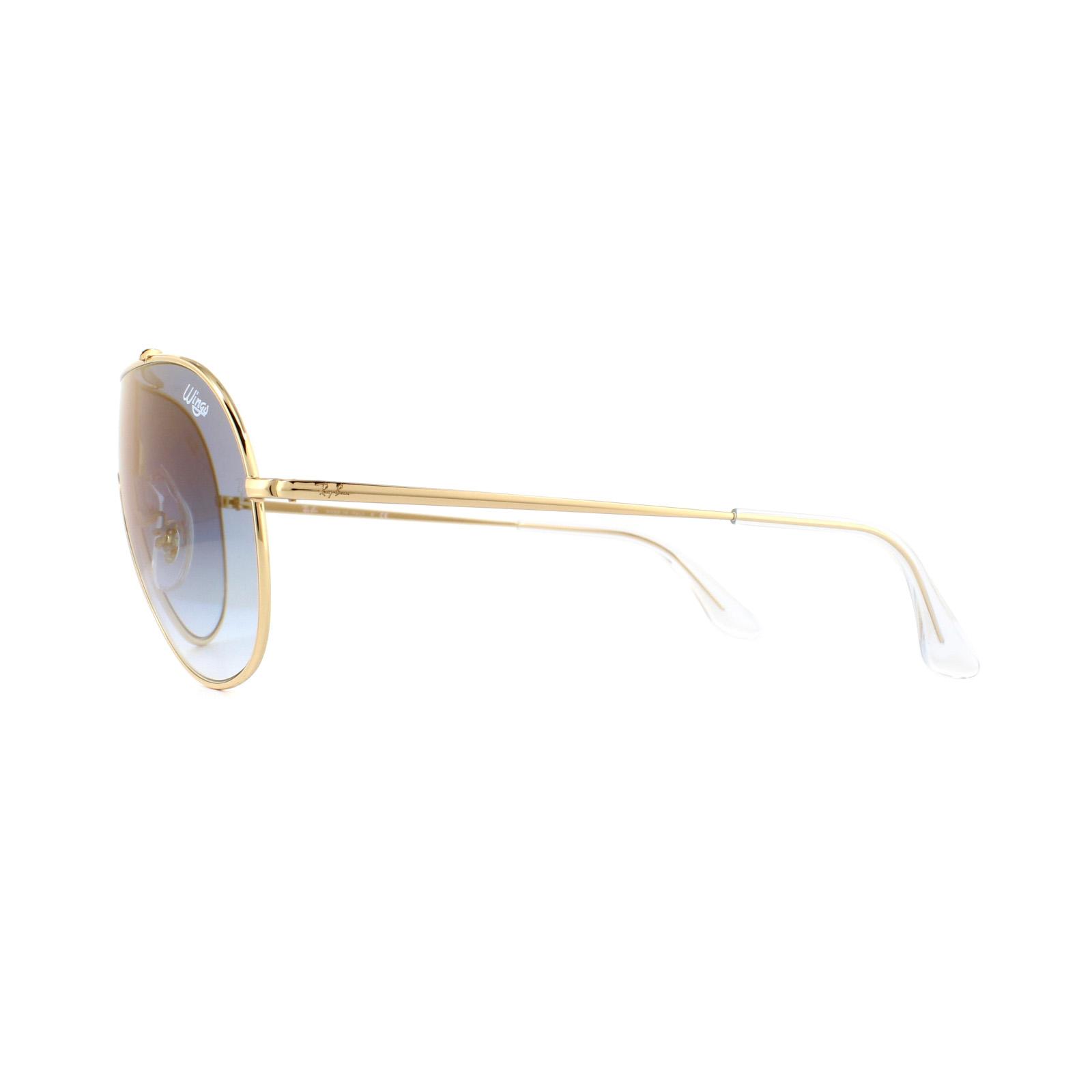 5bb2eebcfc Sentinel Ray-Ban Sunglasses Wings RB3597 001 X0 Gold Blue Gradient Mirror