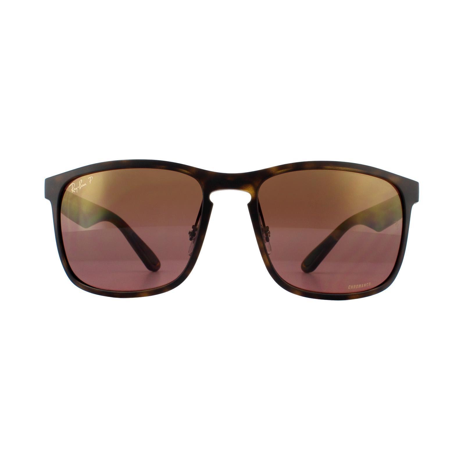 17effe209b Sentinel Ray-Ban Sunglasses RB4264 894 6B Matte Havana Brown Polarized  Mirror Chromance