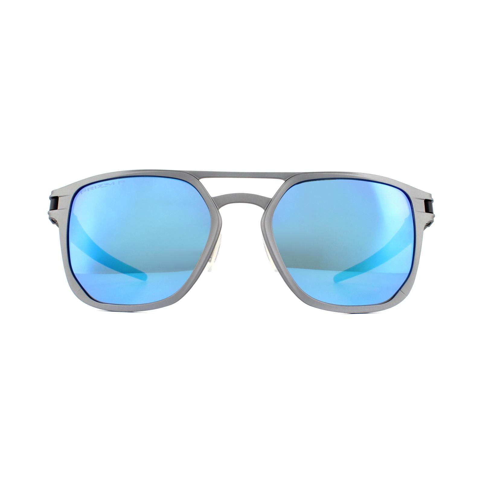 bd49f3e1378 Sentinel Oakley Sunglasses Latch Alpha OO4128-04 Matte Gunmetal Prizm  Sapphire Polarized