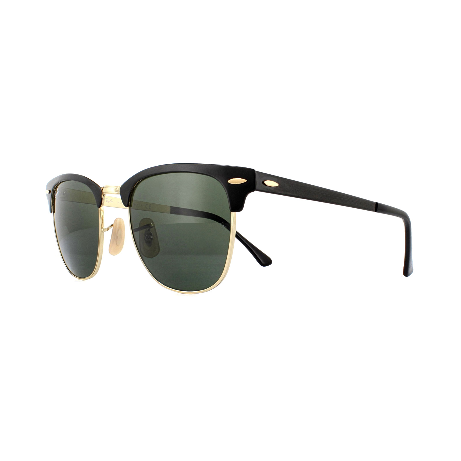 49c1516c204 Sentinel Ray-Ban Sunglasses Clubmaster Metal RB3716 187 Gold Top On Black  Green