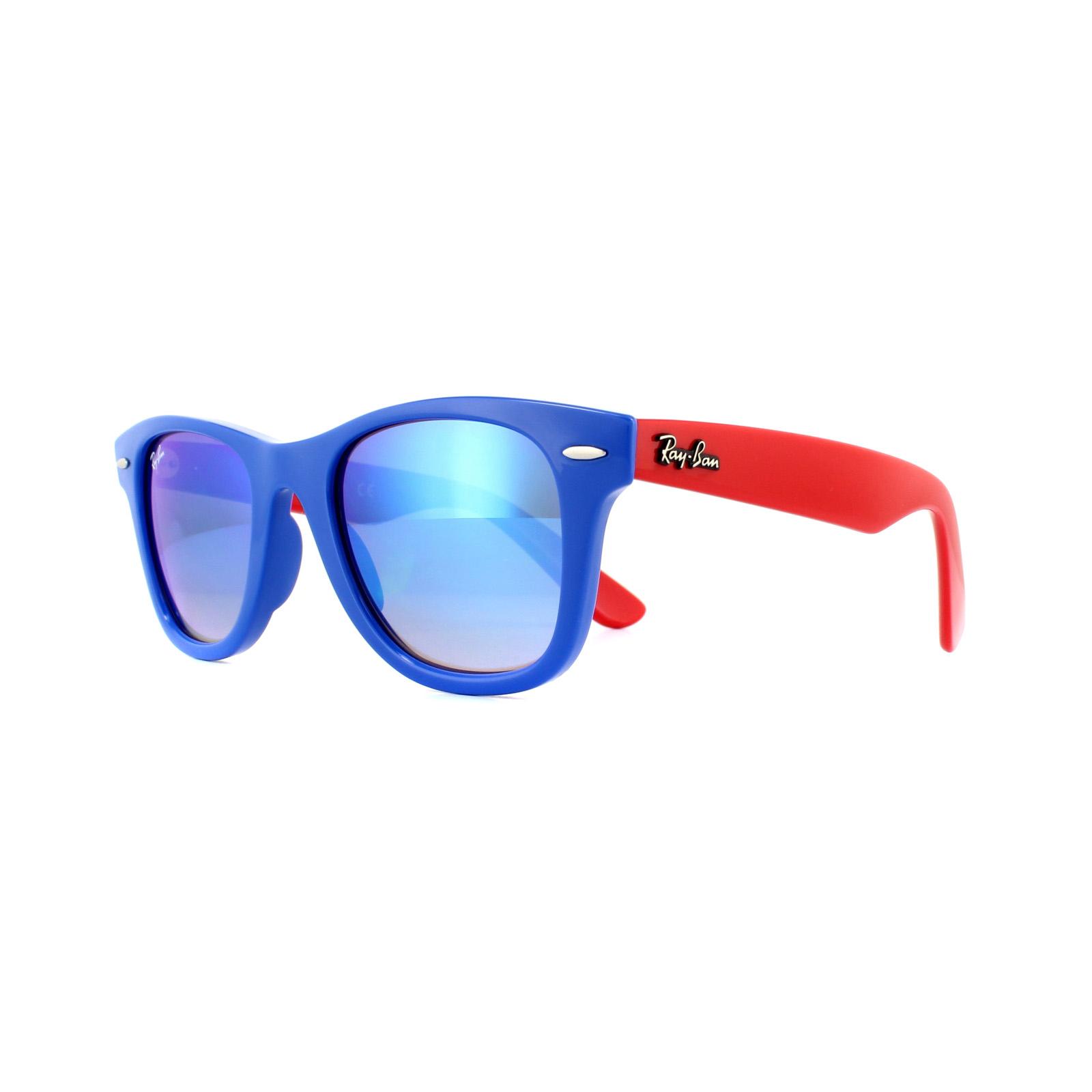 9a26e53fe1 CENTINELA Gafas de sol Ray-Ban Junior Wayfarer RJ9066 7039B7 Azul Rojo Azul  Espejo degradado