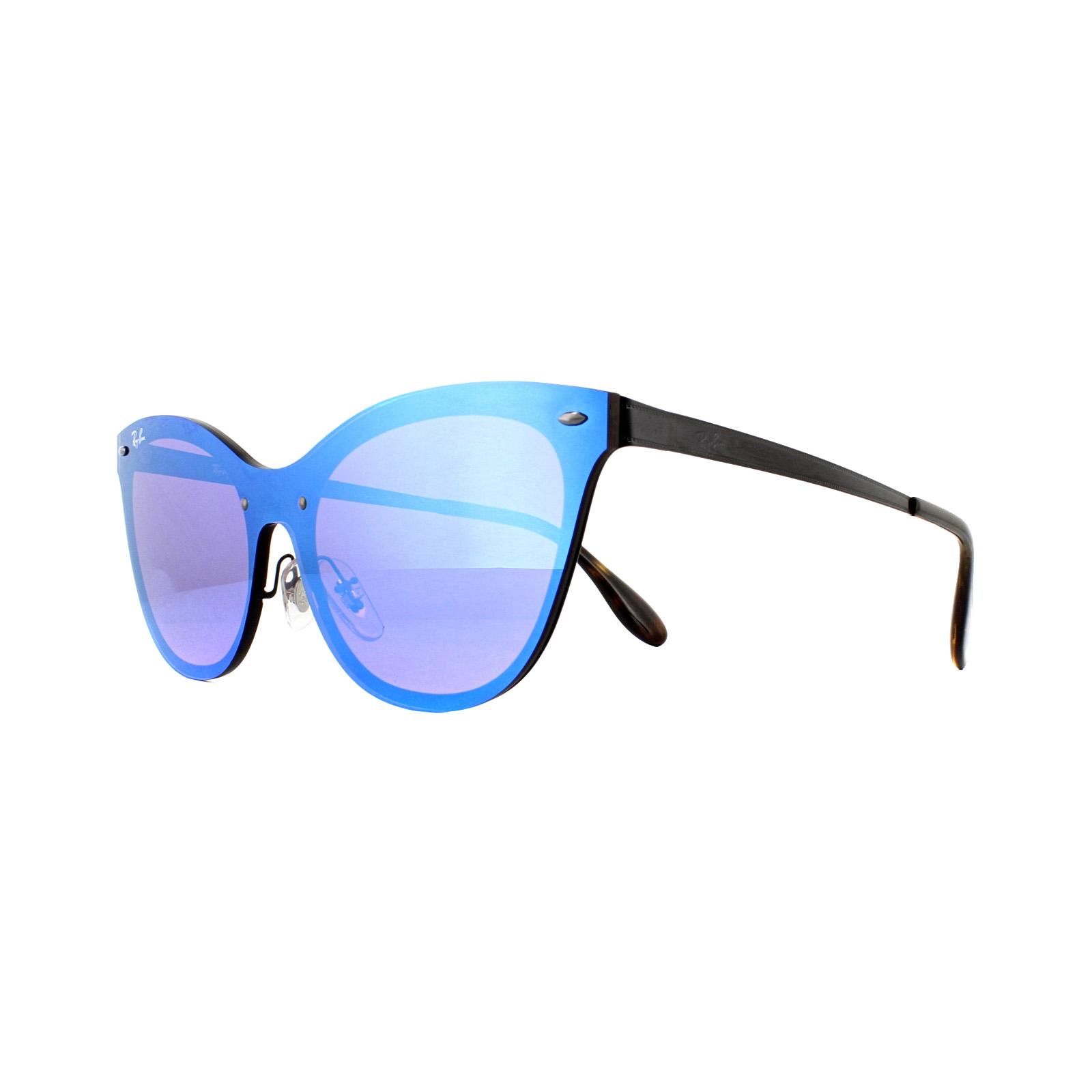 31229be8f5e Sentinel Ray-Ban Sunglasses Blaze Cat Eye 3580N 153 7V Black Dark Violet  Mirror Blue