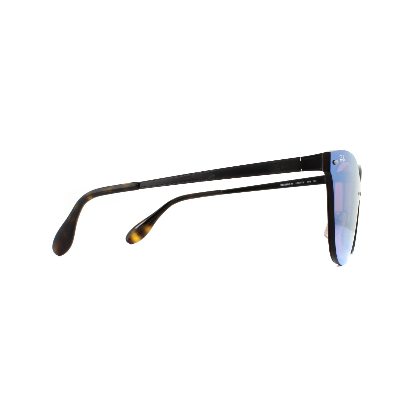 f3d2728fc9b5 Sentinel Ray-Ban Sunglasses Blaze Cat Eye 3580N 153 7V Black Dark Violet  Mirror Blue