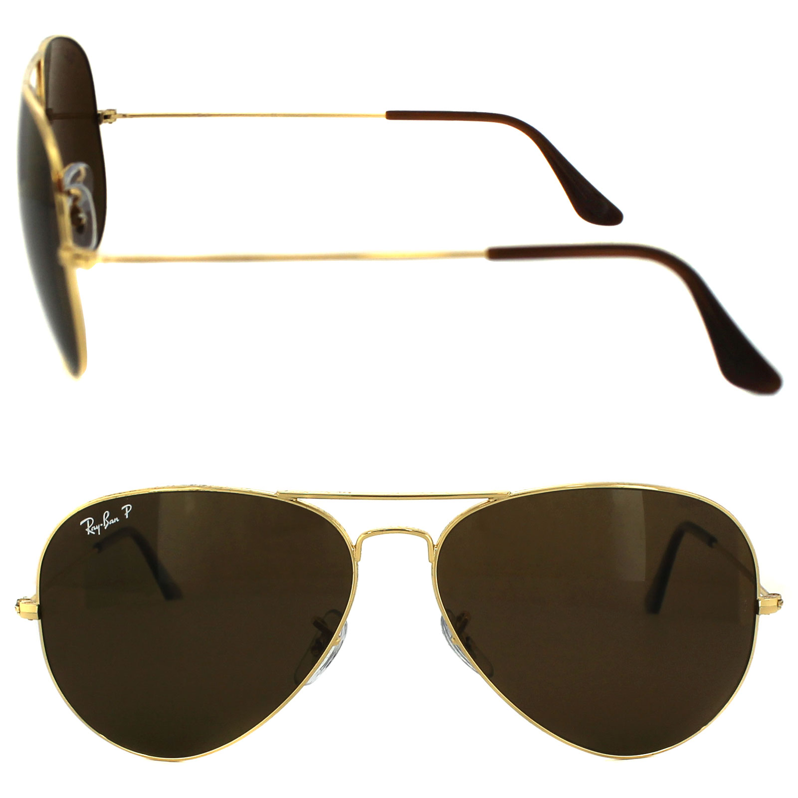 bb078e1c2 CENTINELA Gafas de sol Ray-Ban Aviator 3025 001/57 oro marrón polarizada  grande 62mm