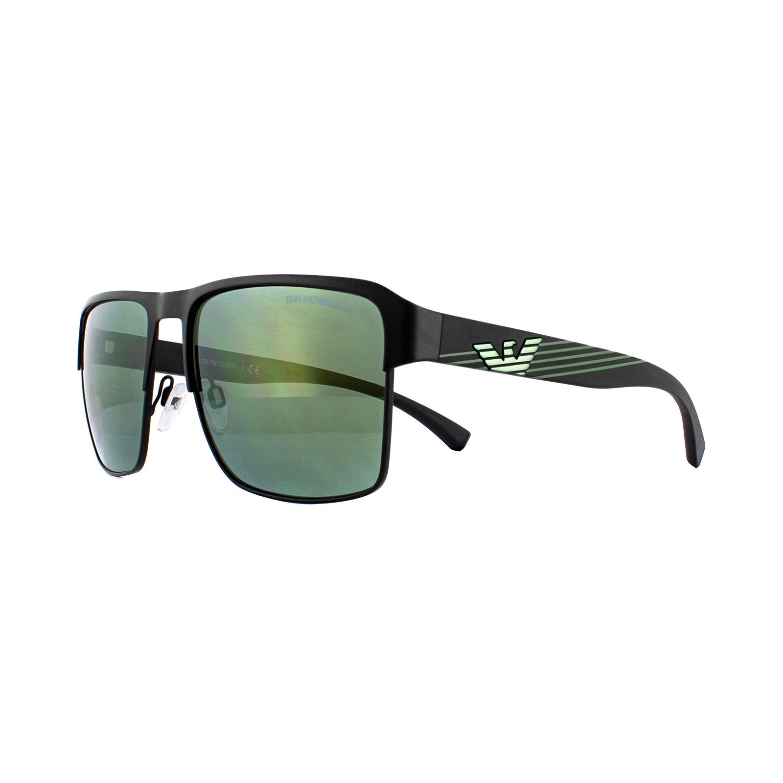 6a3a333db Sentinel Emporio Armani Sunglasses EA2066 30016R Matte Black Light Green  Mirror Petrol
