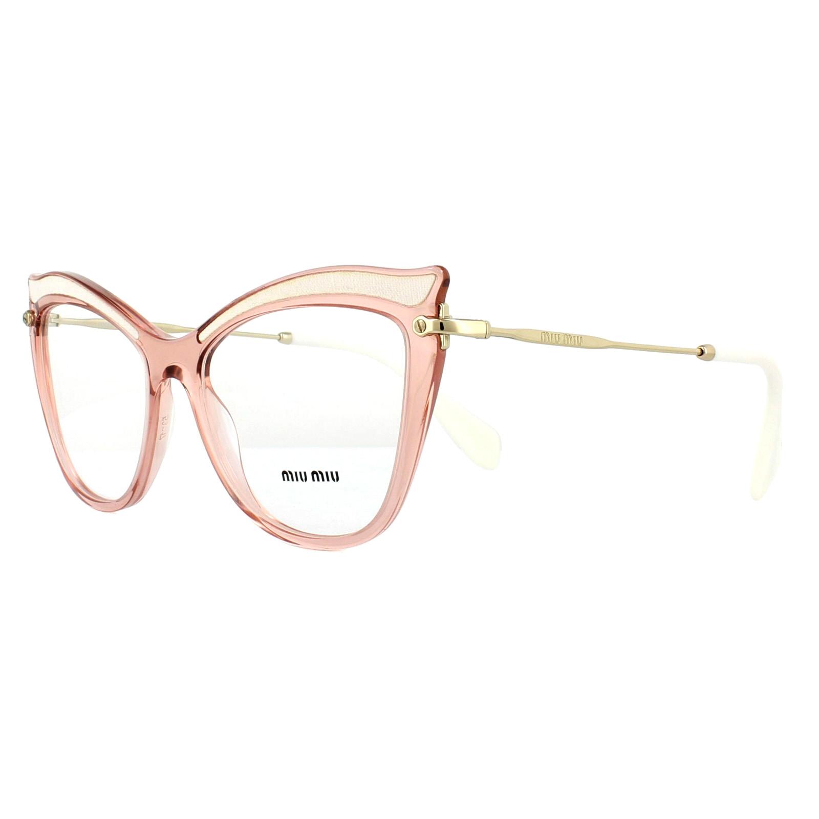 3a54ed708d88 Sentinel Miu Miu Glasses Frames MU06PV VH01O1 Transparent Pink 53mm Womens