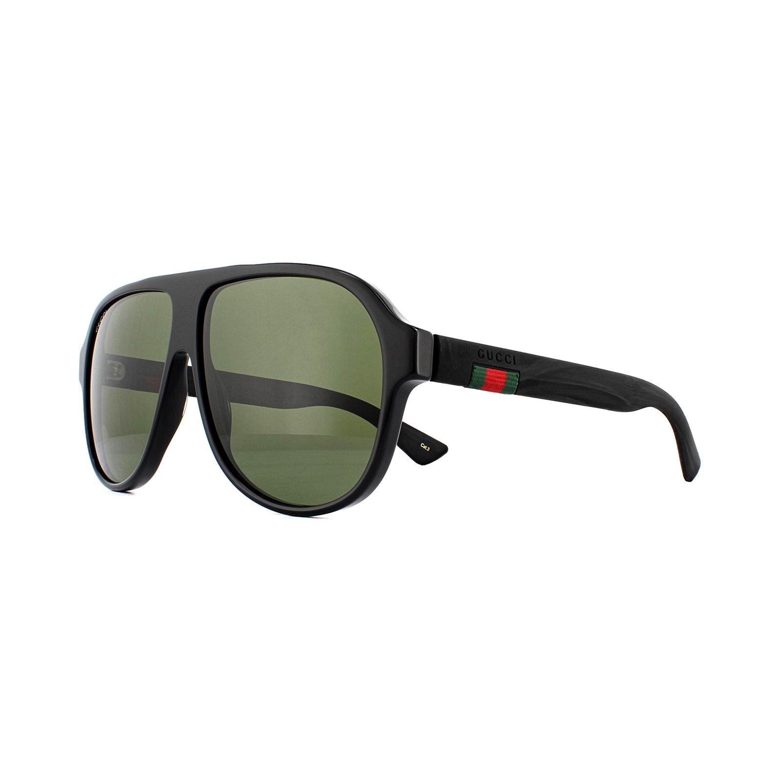 31ae996d6d1 Gucci Sunglasses GG0009S 001 Black Rubber Green 889652047515