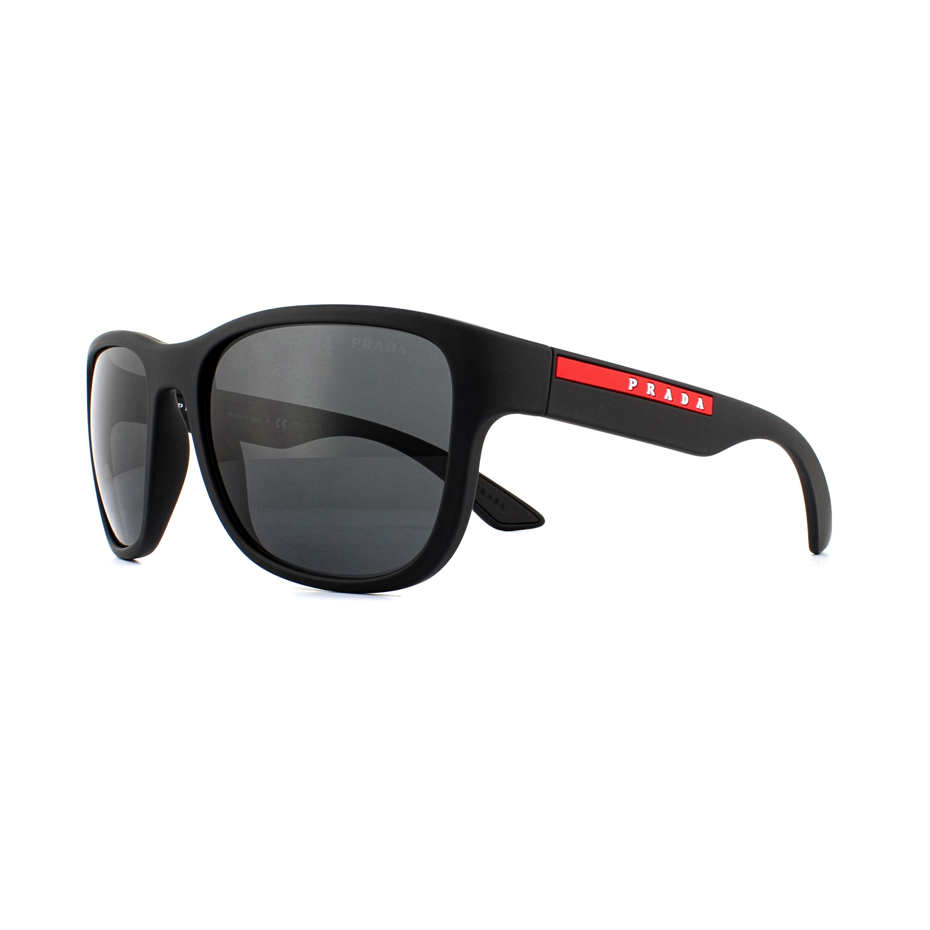 7cfe6614af3e Prada Sport Sunglasses PS01US DG05S0 Black Rubber Grey 8053672982725 ...