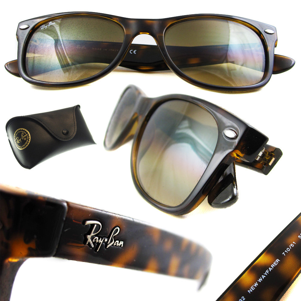 b4aa09509 Sentinel Ray-Ban Sunglasses New Wayfarer 2132 710/51 Light Havana Brown  Gradient Small