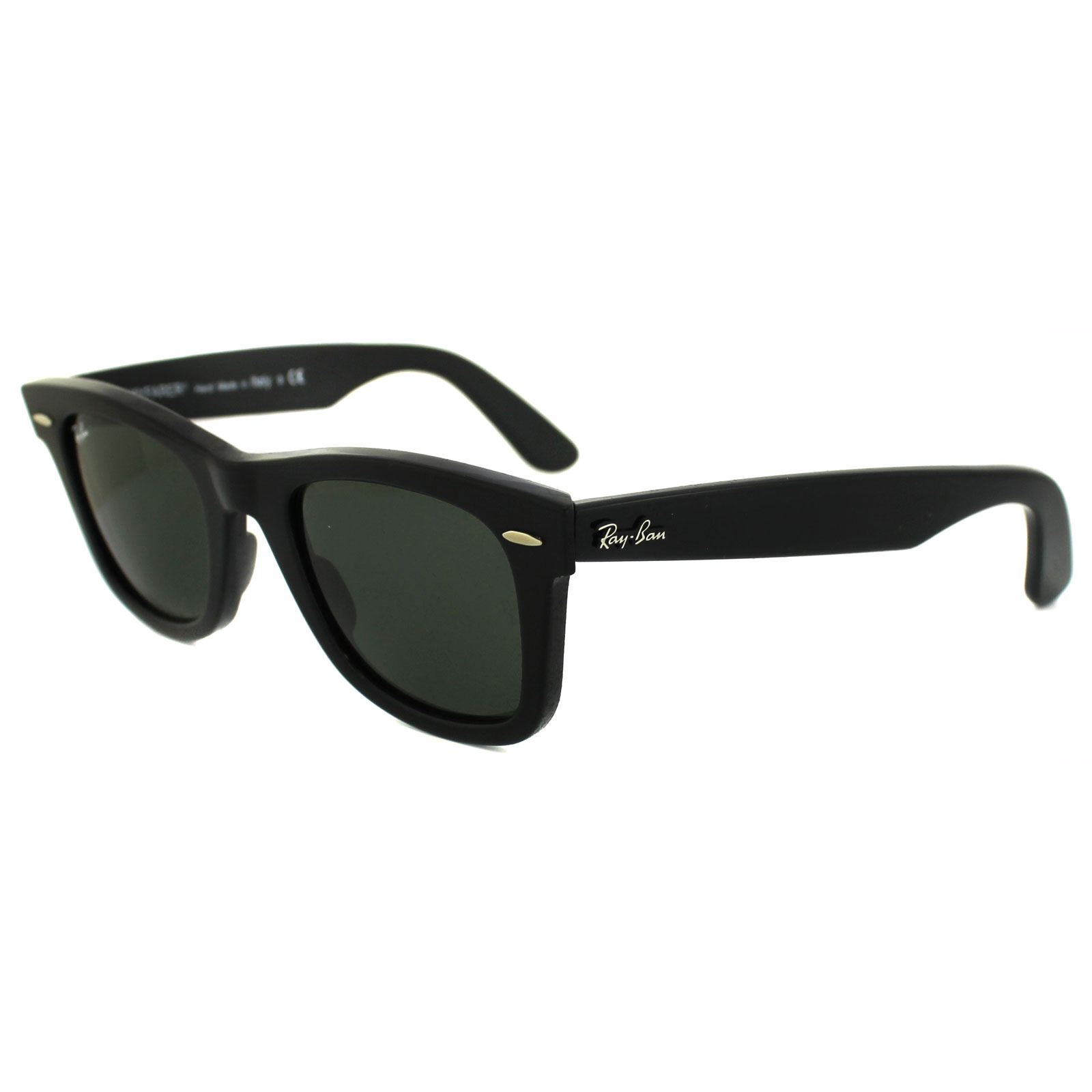 46071922183 Ray-Ban Sunglasses Wayfarer 2140 901 Black Green G-15 Small 47mm Thumbnail  1 ...