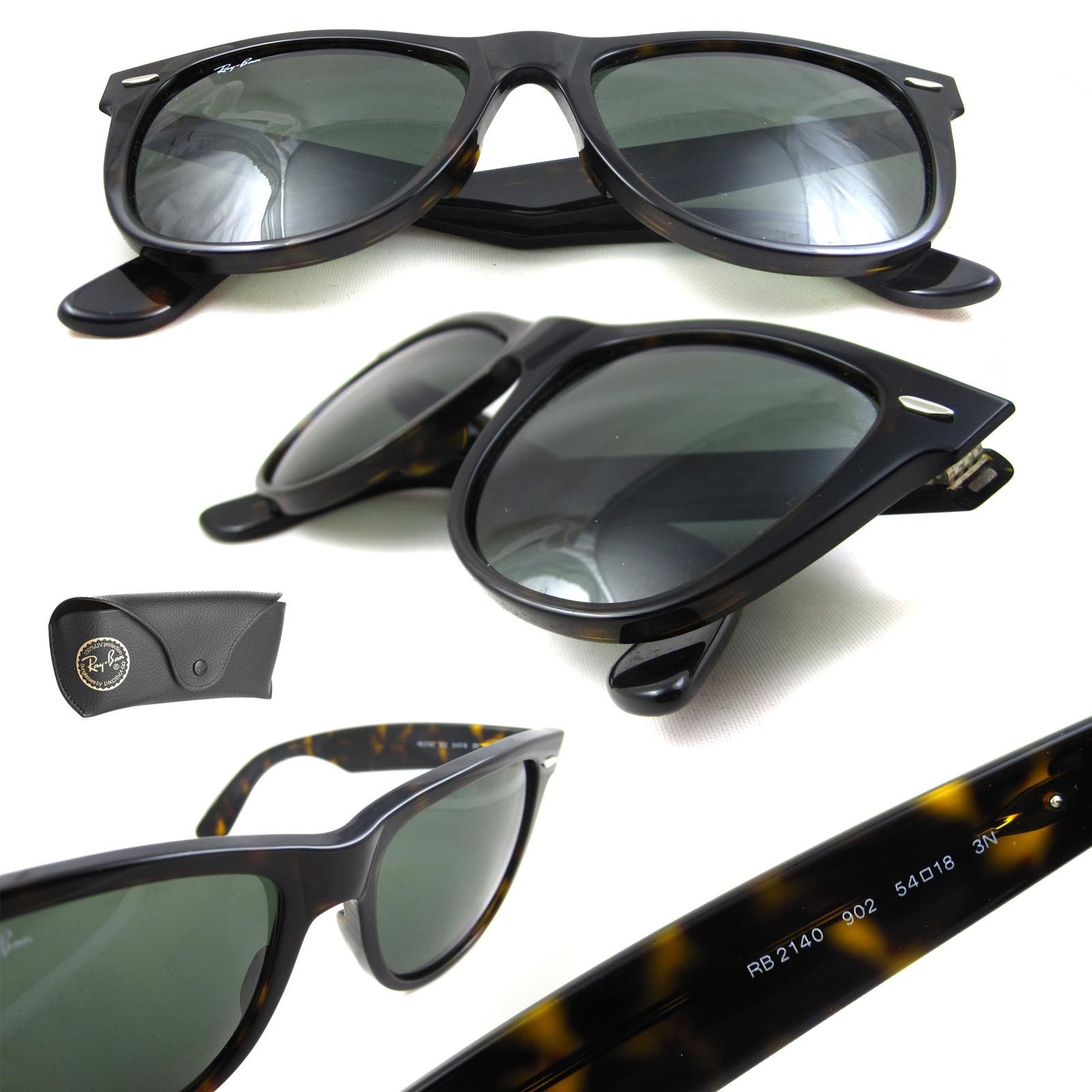 b95620151a5a9 Sentinel Ray-Ban Sunglasses Wayfarer 2140 902 Tortoise Green G-15 Large 54mm