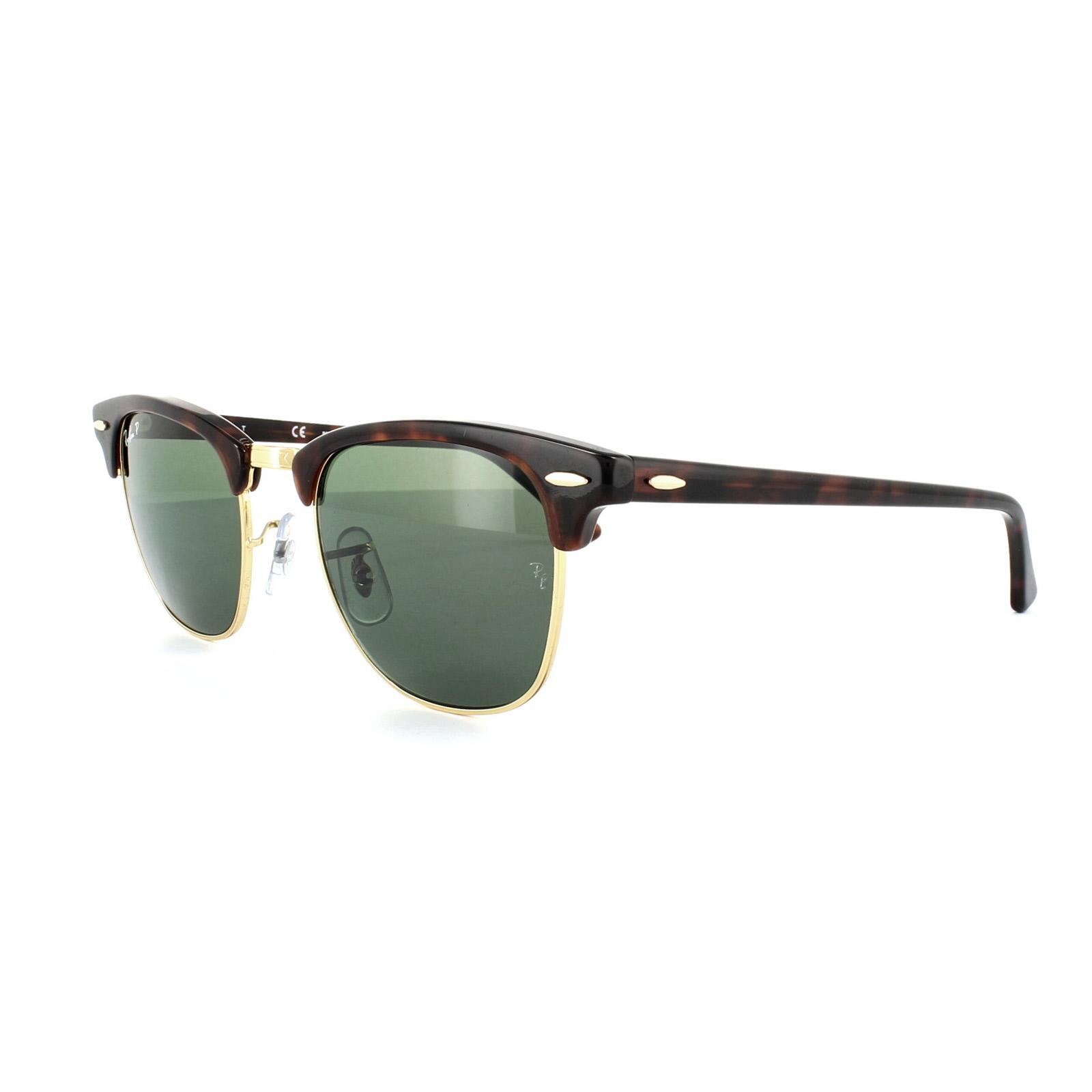 b57cab48e83b6a Ray-Ban Sunglasses Clubmaster 3016 990 58 Red Havana Green Polarized Small  49mm Thumbnail ...