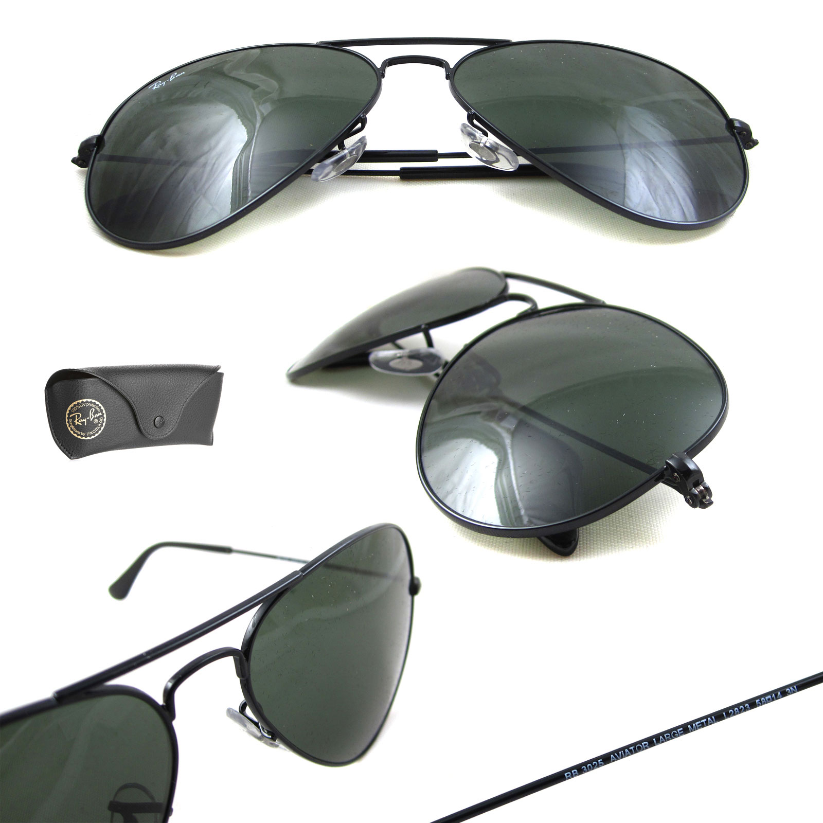 f265b4c372 ... Ray-Ban Sunglasses Aviator 3025 L2823 Black Green G-15 Medium 58mm  Thumbnail 2 ...