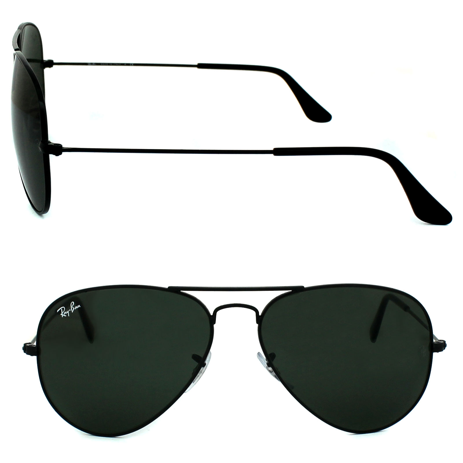e8f9e29584 Sentinel Ray-Ban Sunglasses Aviator 3025 L2823 Black Green G-15 Medium 58mm