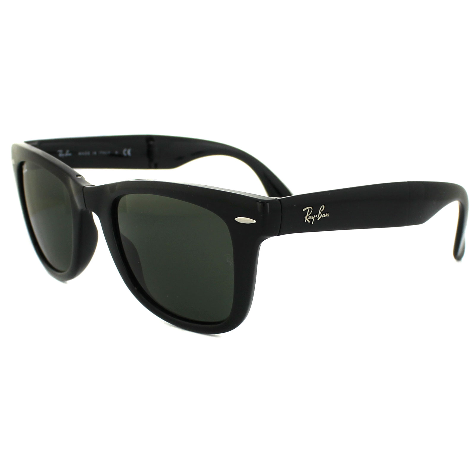 ebe748943eac4 Sentinel Ray-Ban Sunglasses Folding Wayfarer 4105 Black Green 601 Medium  50mm