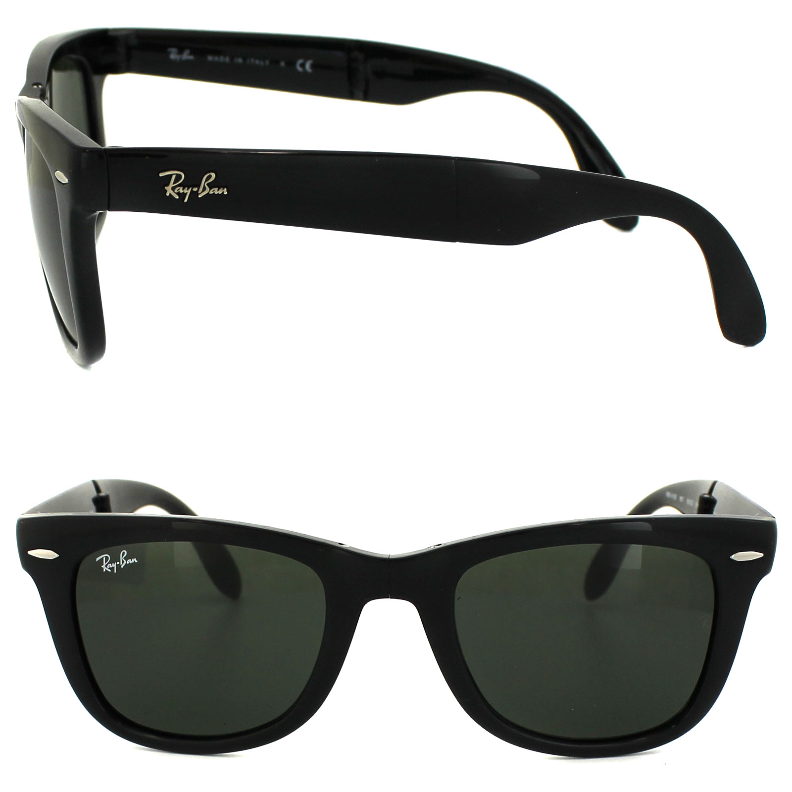 50e13d43121 Sentinel Ray-Ban Sunglasses Folding Wayfarer 4105 Black Green 601 Medium  50mm