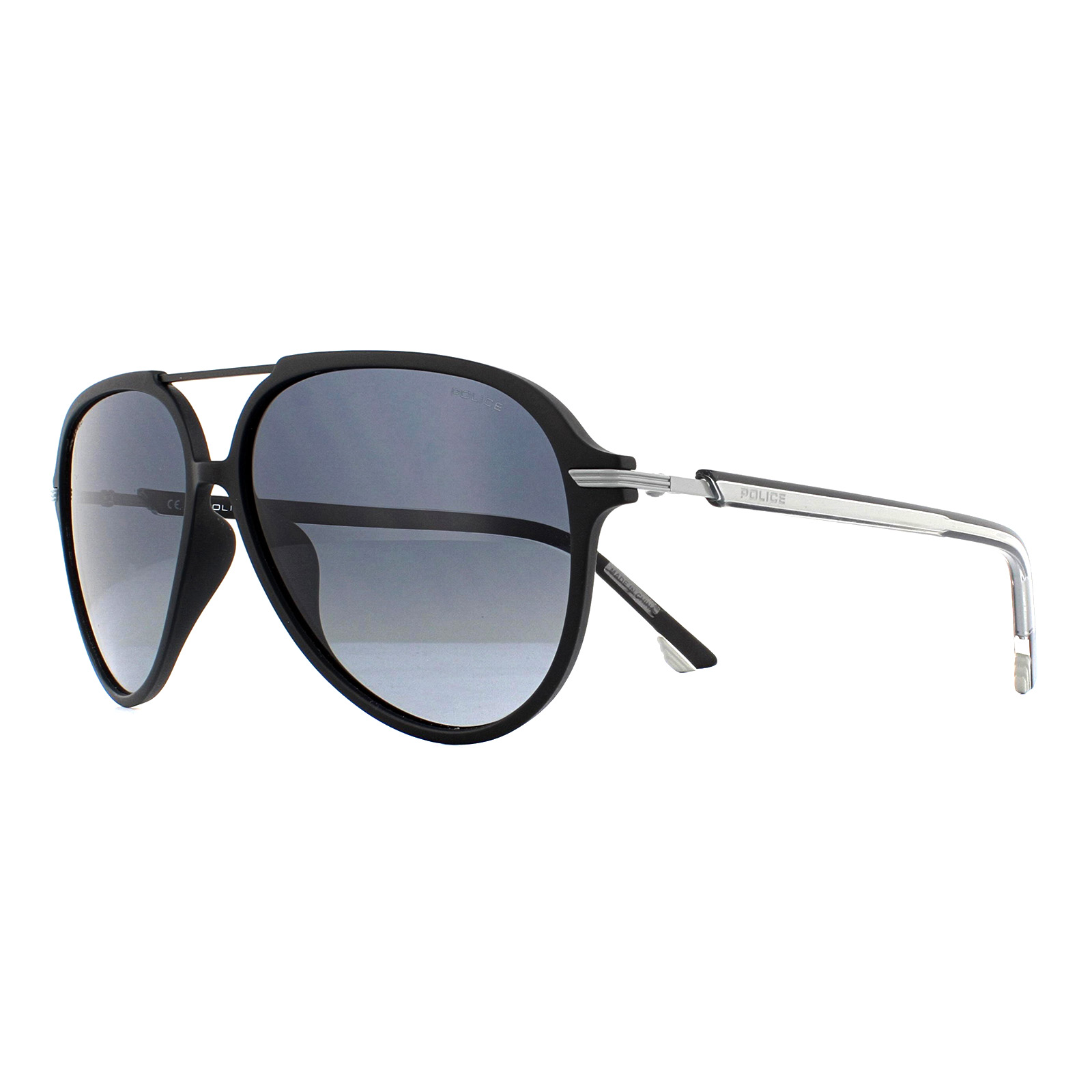 Blue Grey Gradient polarised lenses SPL-582 U28Z Police sunglasses Drop 2 Matt Black Grey