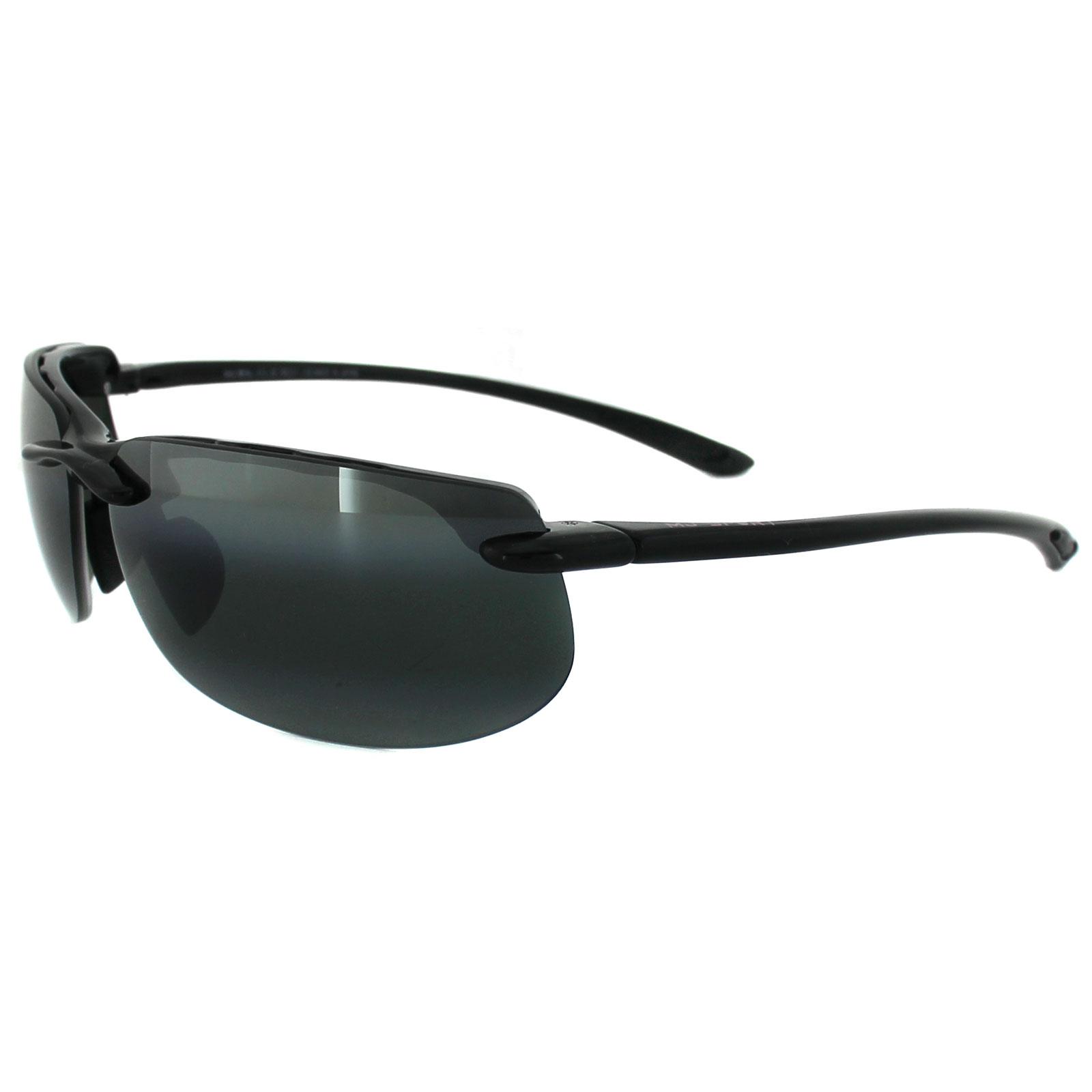 be8fe2ed491bc Sentinel Maui Jim Sunglasses Banyans 412-02 Gloss Black Grey Polarized