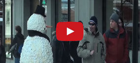 fun video as moving snowman scares passers by