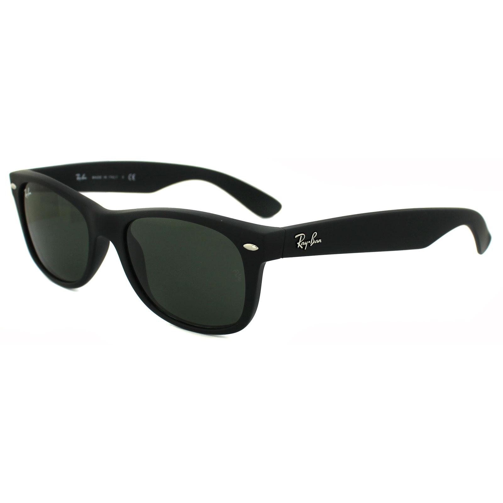 c7484255a Ray-Ban Sunglasses New Wayfarer 2132 622 Black Rubber Green Small 52mm  Thumbnail 1 ...