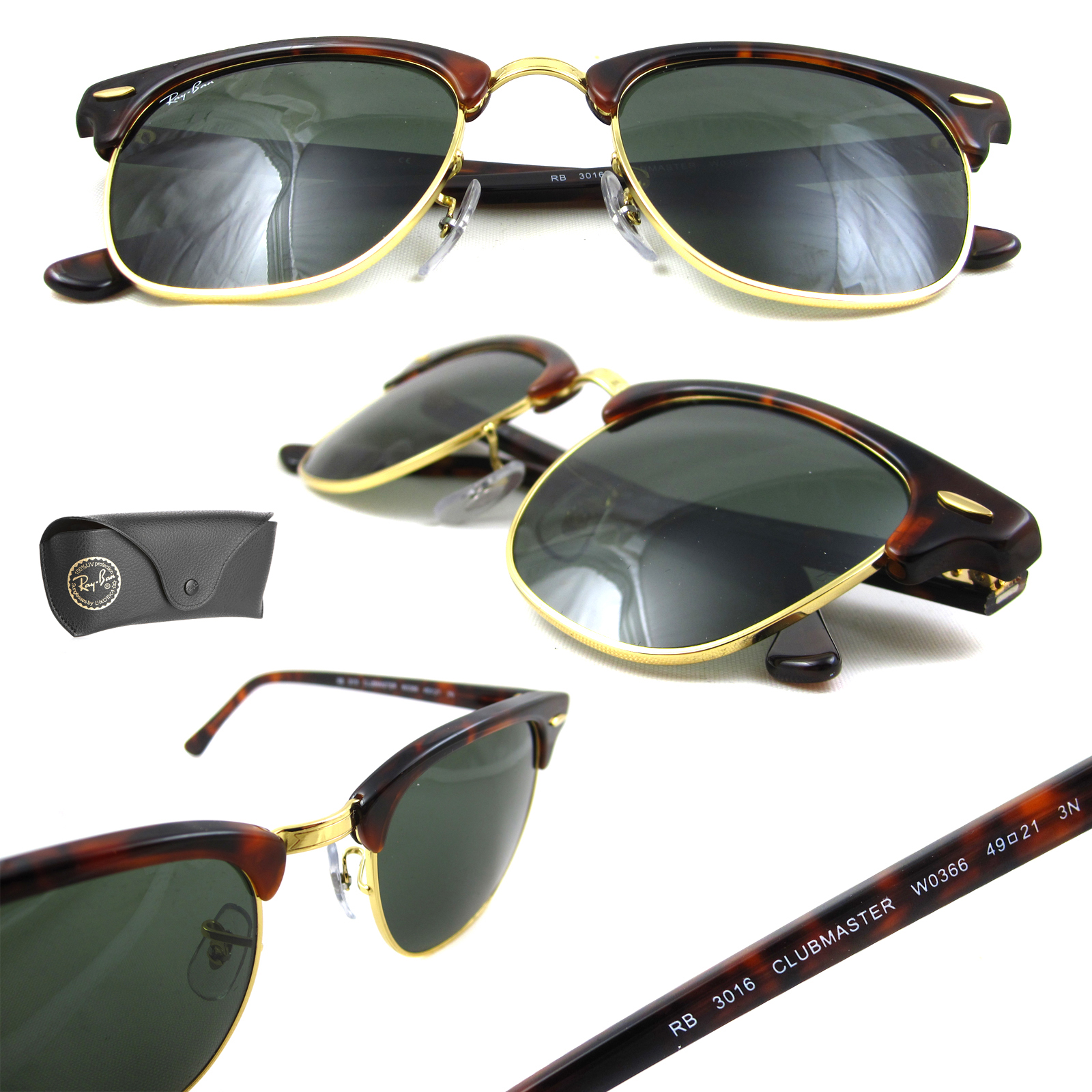 ab41055082df Ray-Ban Sunglasses Clubmaster 3016 W0366 Havana Green G-15 Large 51mm