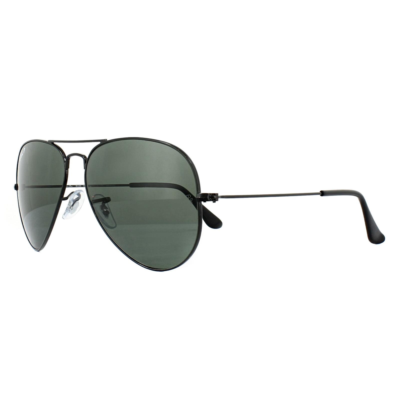 bdb653941b Sentinel Ray-Ban Sunglasses Aviator 3025 002 58 Black Green Polarized Medium  58mm