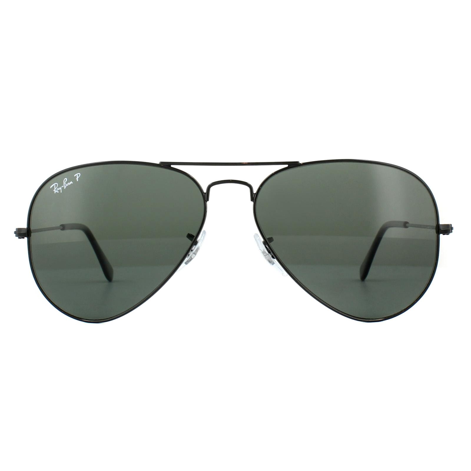 14bf28454d Sentinel Ray-Ban Sunglasses Aviator 3025 002 58 Black Green Polarized  Medium 58mm