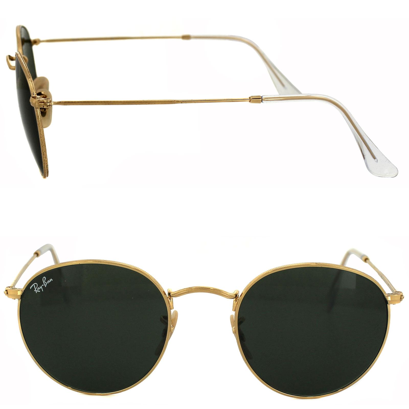 Sentinel Ray-Ban Sunglasses Round Metal 3447 001 Gold Green Medium 50mm a797fd5e08fc