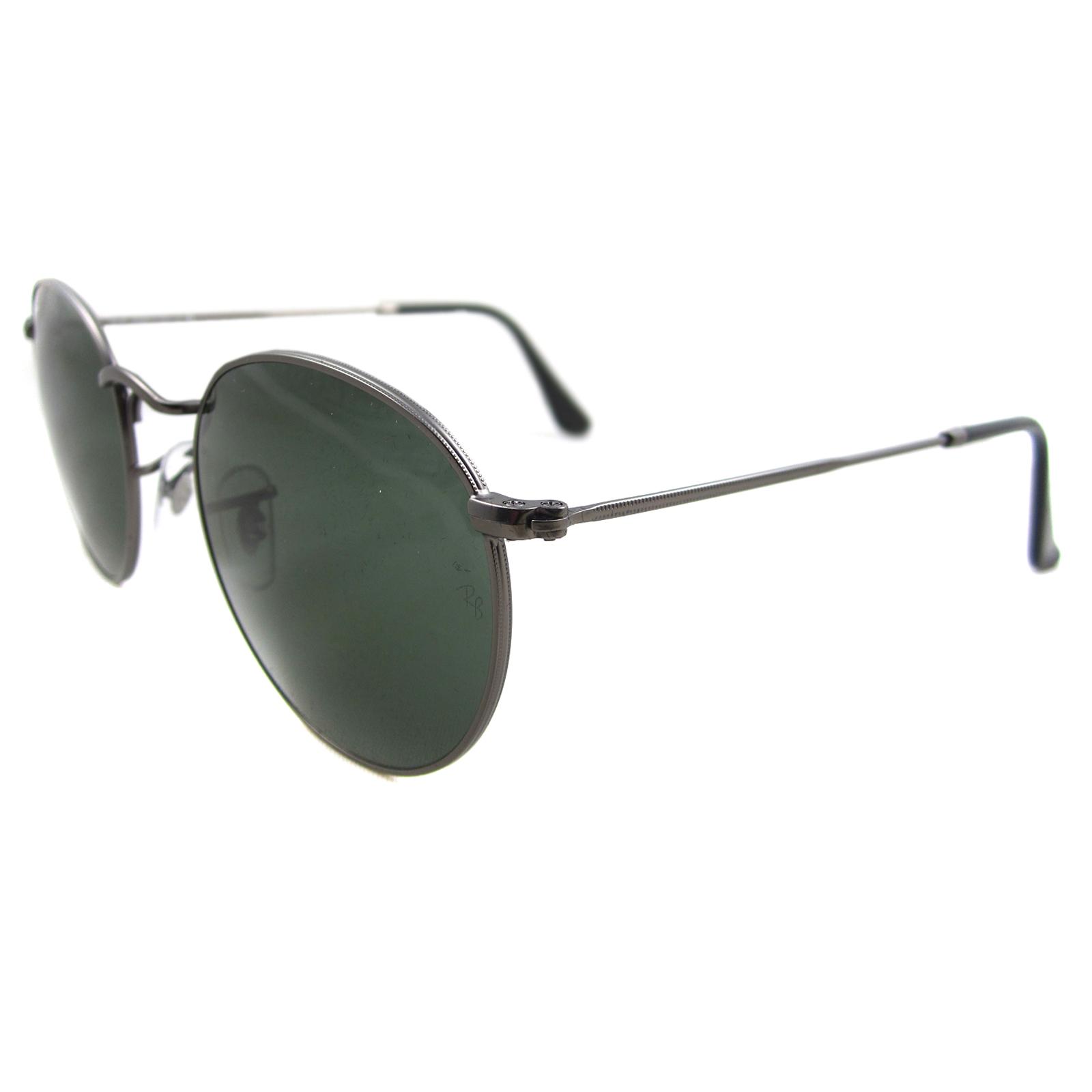 Sentinel Ray-Ban Sunglasses Round Metal 3447 029 Gunmetal Green Medium 50mm 367ed8bfcf