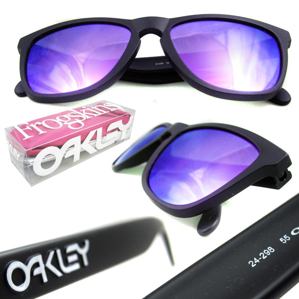 d21d986fa Oakley Sunglasses Frogskins Matt Black Violet 24-298 700285551371 | eBay