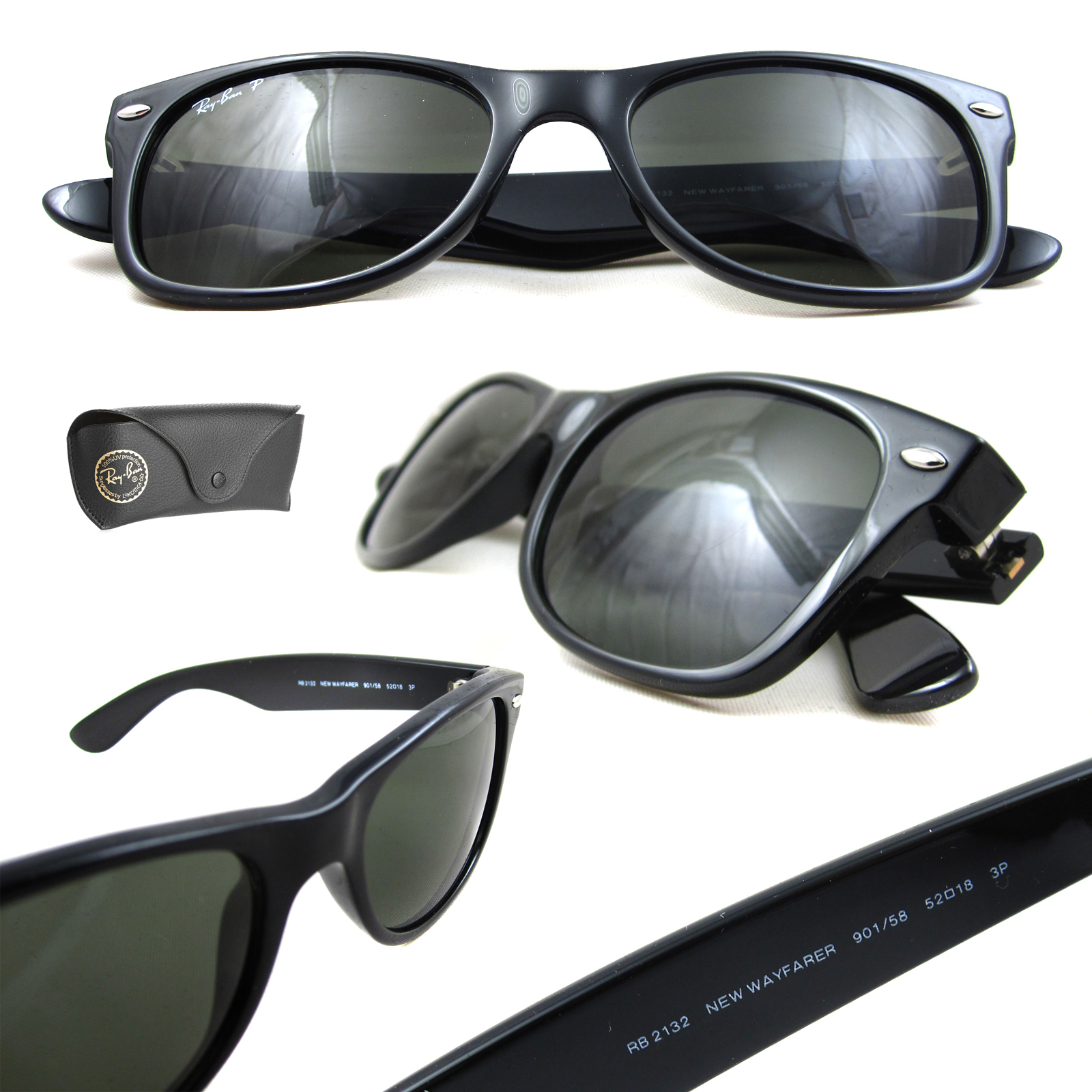 e0671173815 Sentinel Ray-Ban Sunglasses New Wayfarer 2132 901 58 Black Green G-15  Polarized