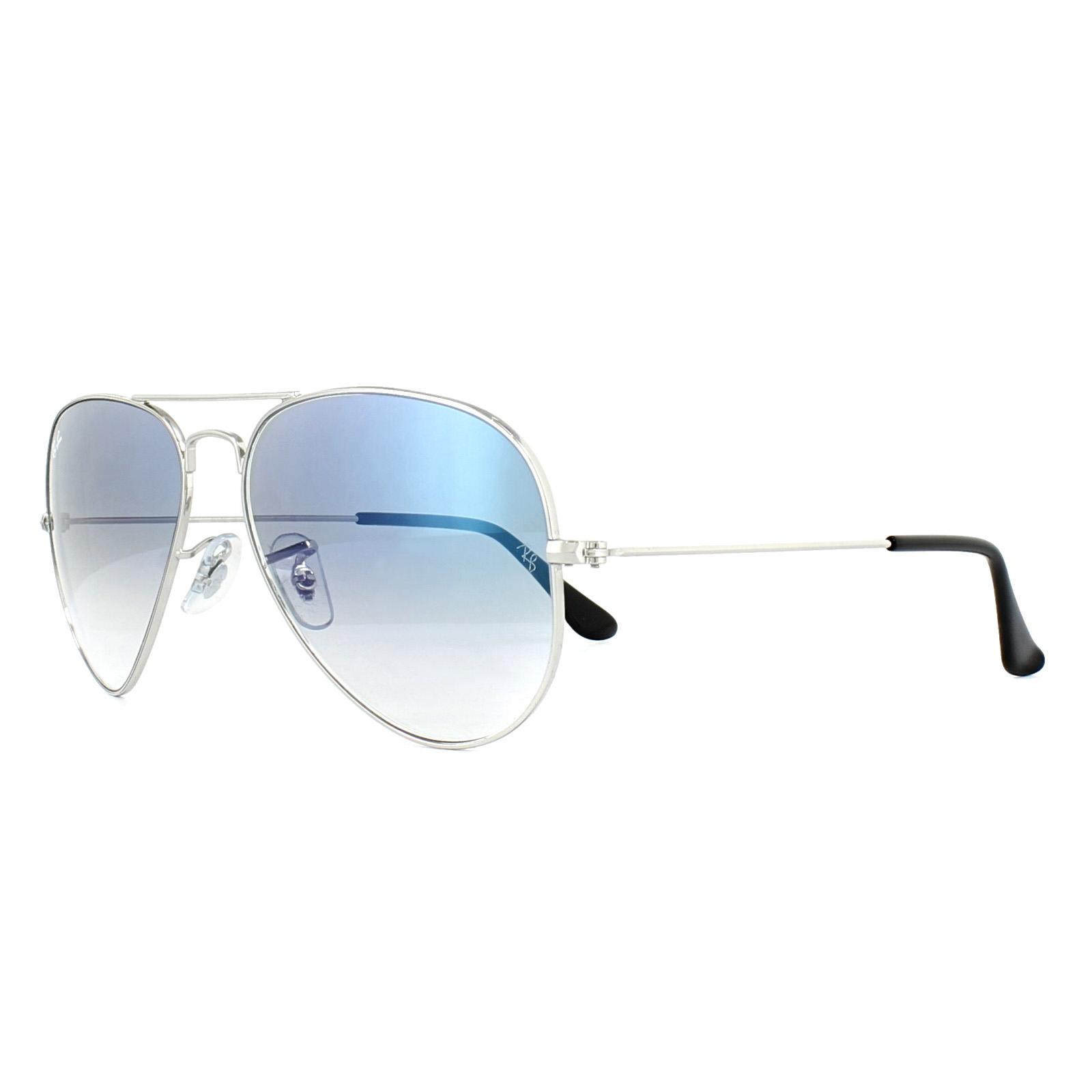 d4cb1b2cd336b Sentinel Ray-Ban Sunglasses Aviator 3025 003 3F Silver Light Blue Gradient