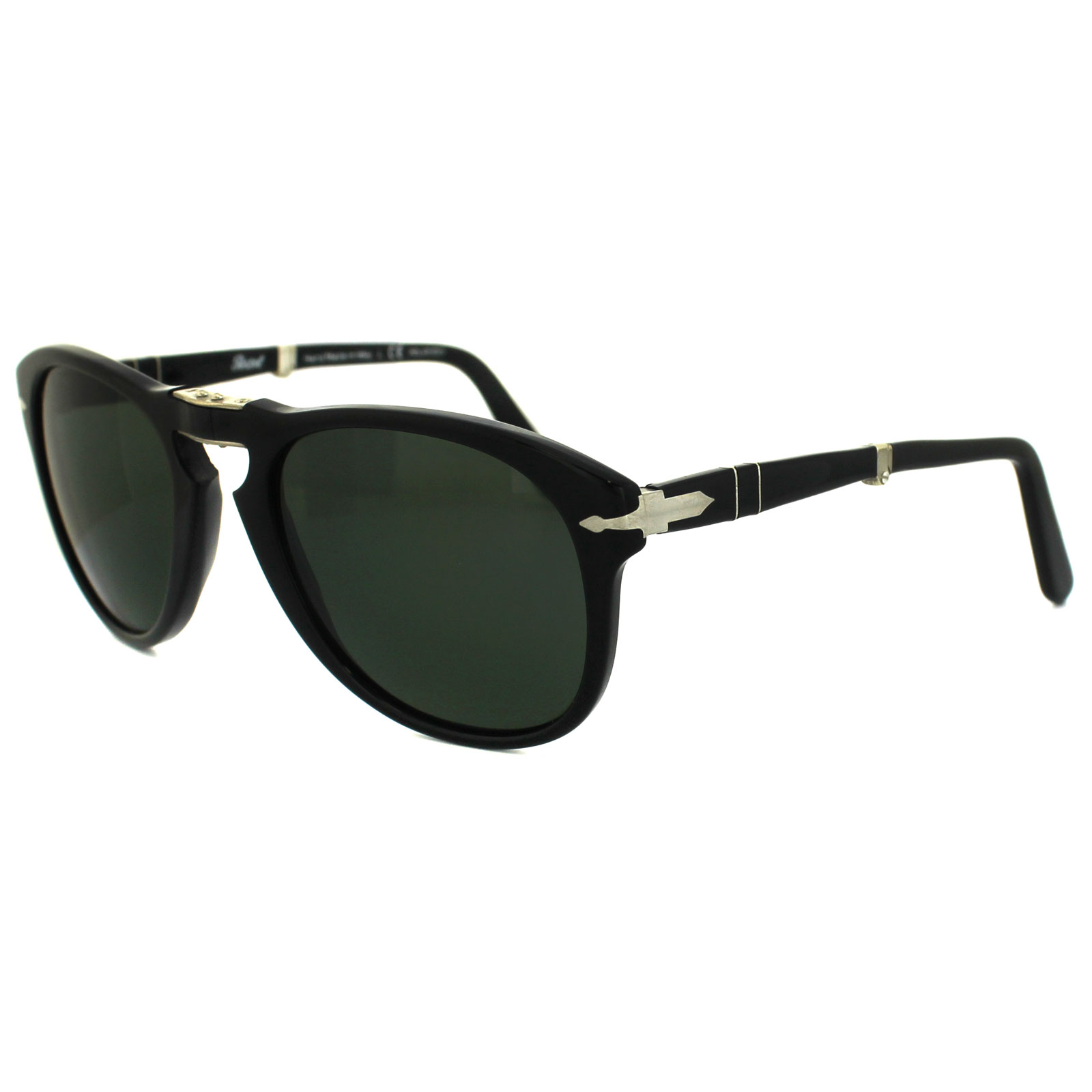 9dc1260ec598a Sentinel Persol Sunglasses 714 95 58 Black Green Polarized Folding Steve  McQueen 54mm